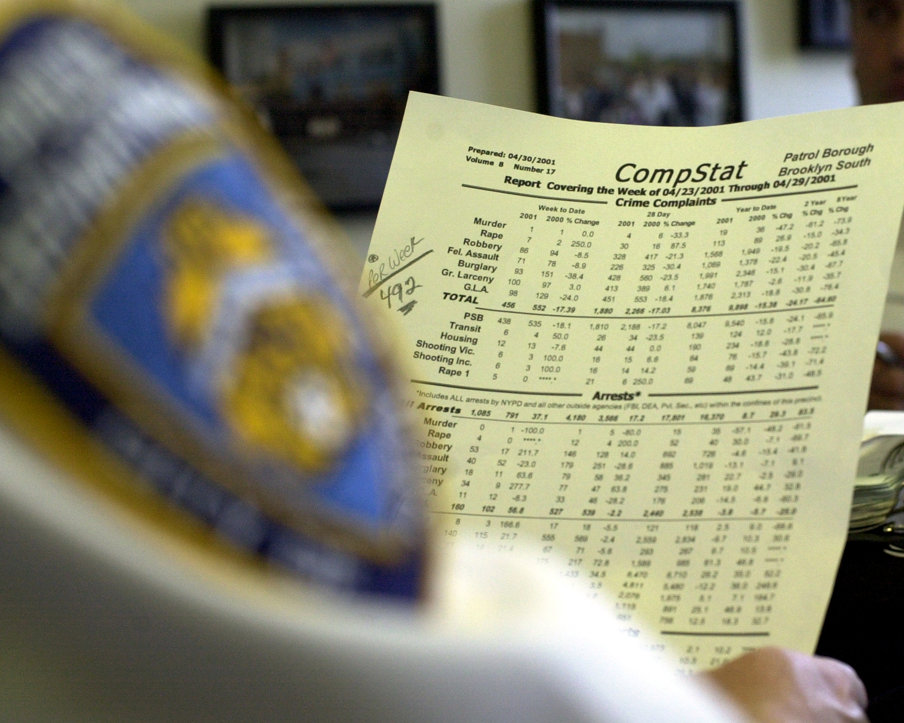 A police officer reviews CompStat data.