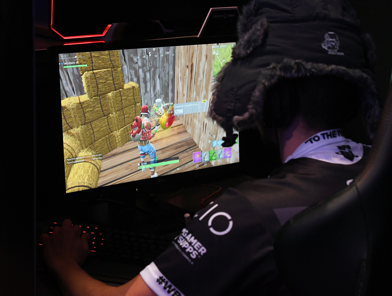 A gamer plays Fortnite.