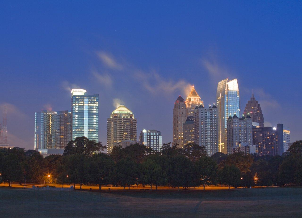 Atlanta's Midtown skyline with an ethereal glow.
