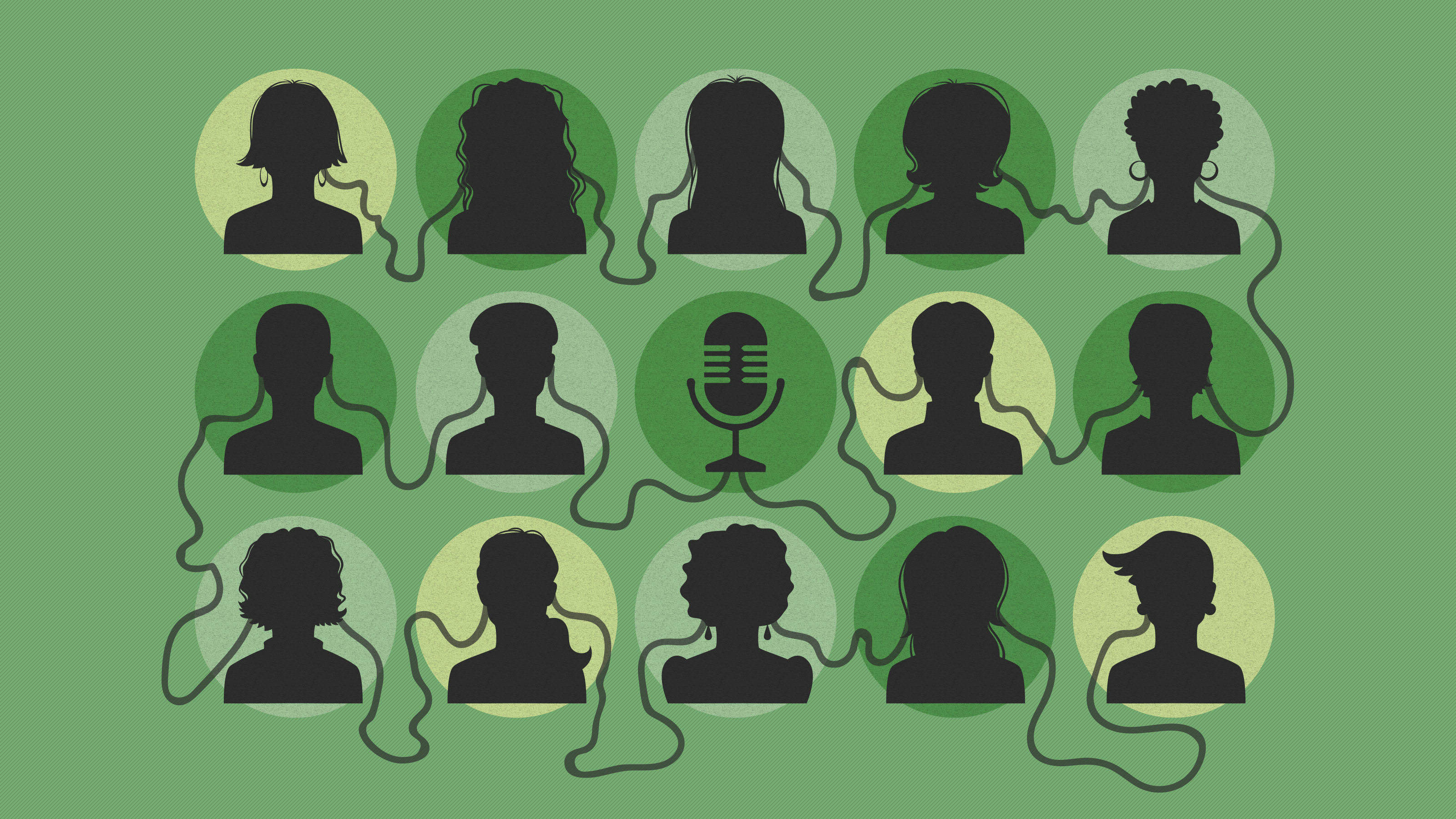 Abstract image of podcast audience