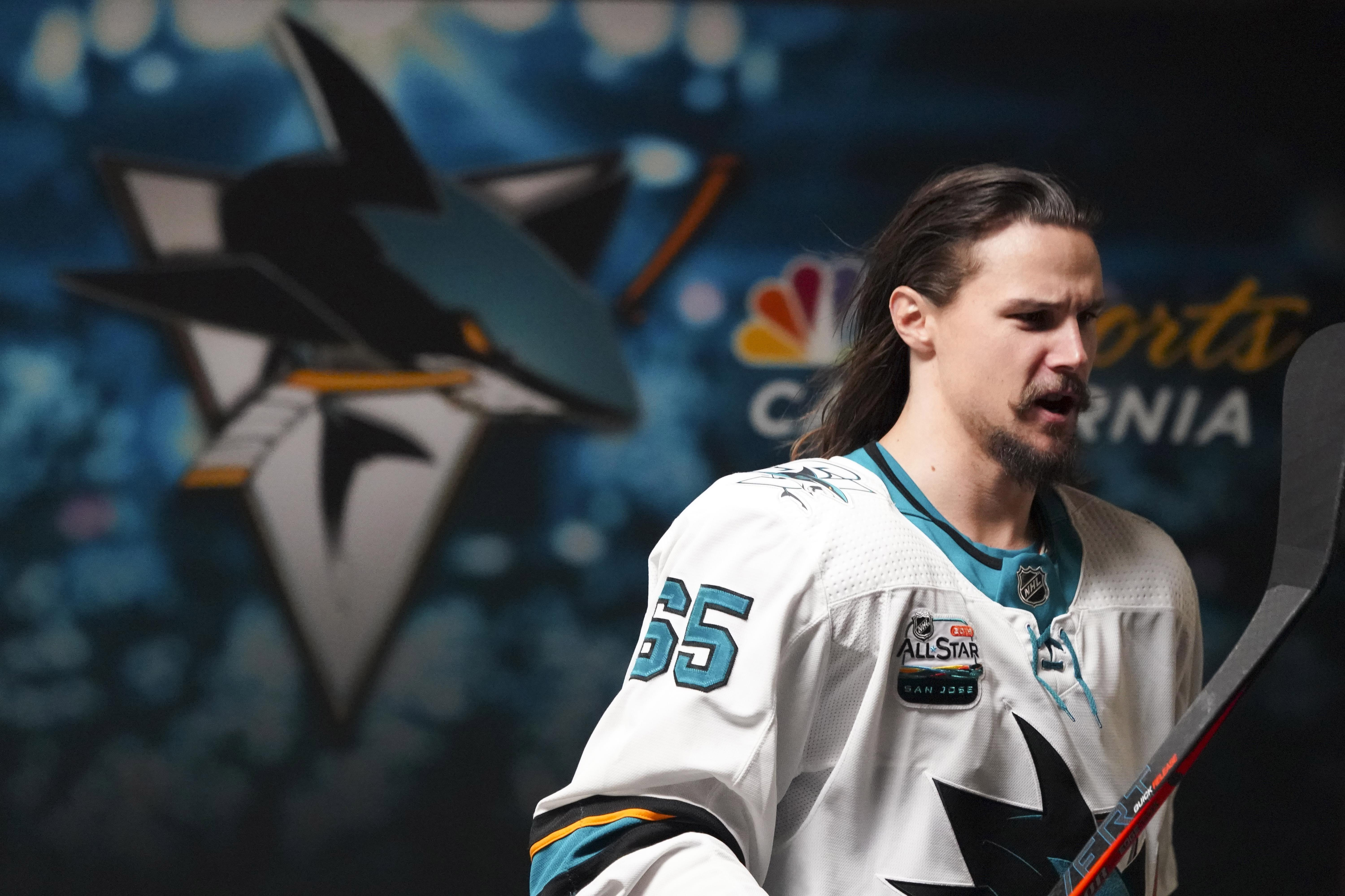 Oct 26, 2018; Raleigh, NC, USA; San Jose Sharks defenseman Erik Karlsson (65) walks out of the locker room before the game against the Carolina Hurricanes at PNC Arena. The Carolina Hurricanes defeated the San Jose Sharks 4-3 in the shoot out.