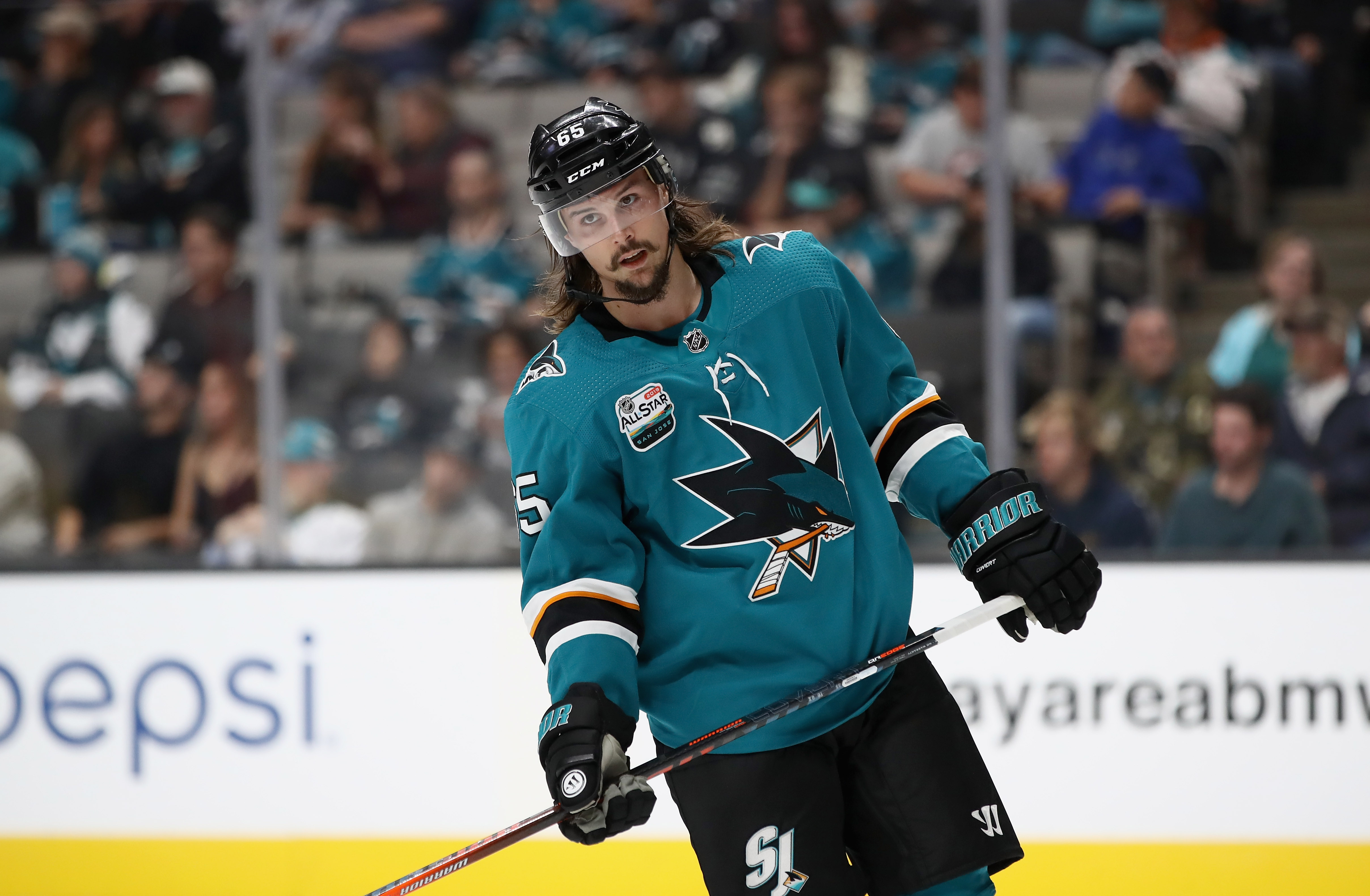 SAN JOSE, CA - OCTOBER 03: Erik Karlsson #65 of the San Jose Sharks skates on the ice during their game against the Anaheim Ducks at SAP Center on October 3, 2018 in San Jose, California