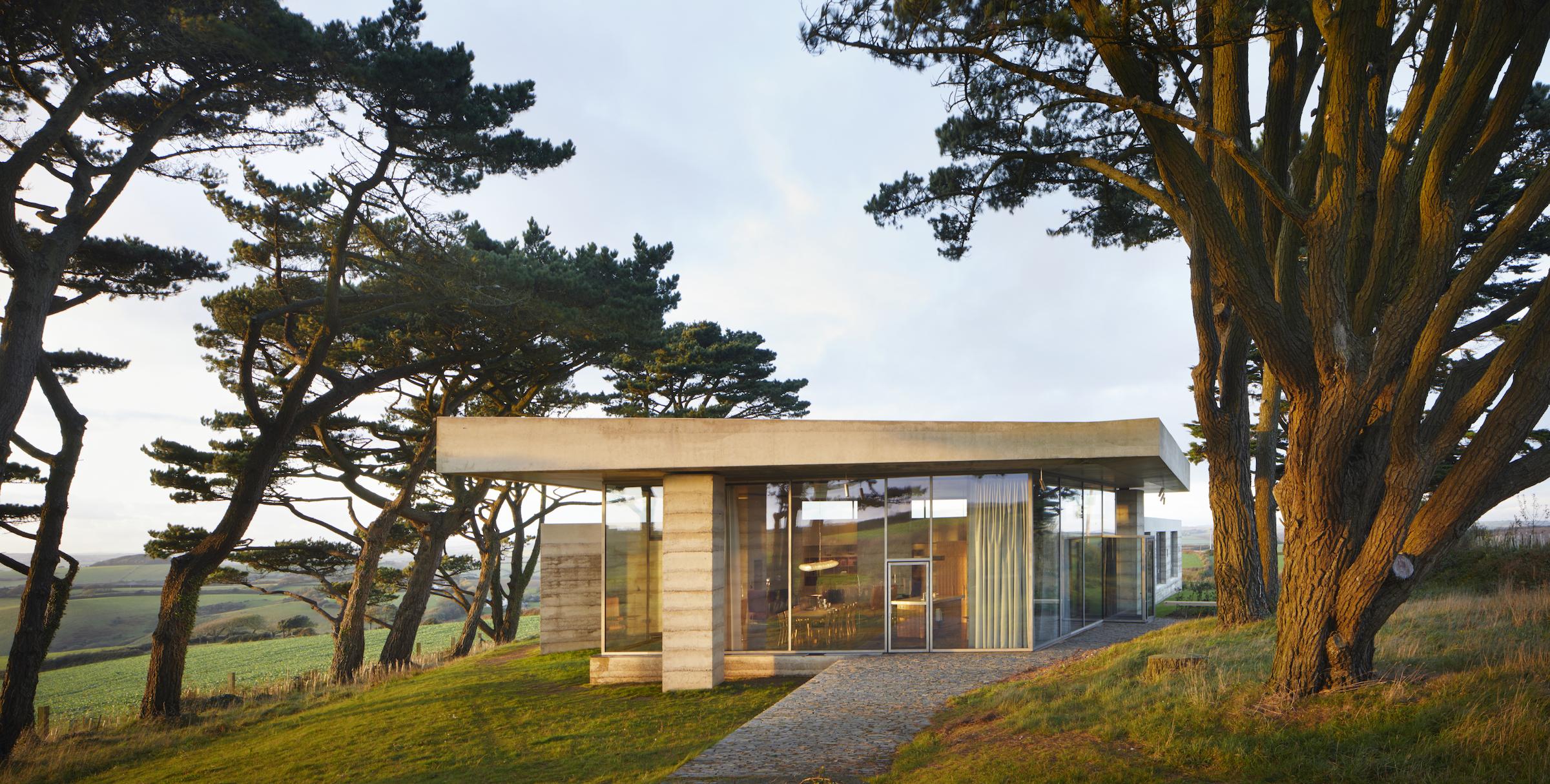 concrete villa among trees