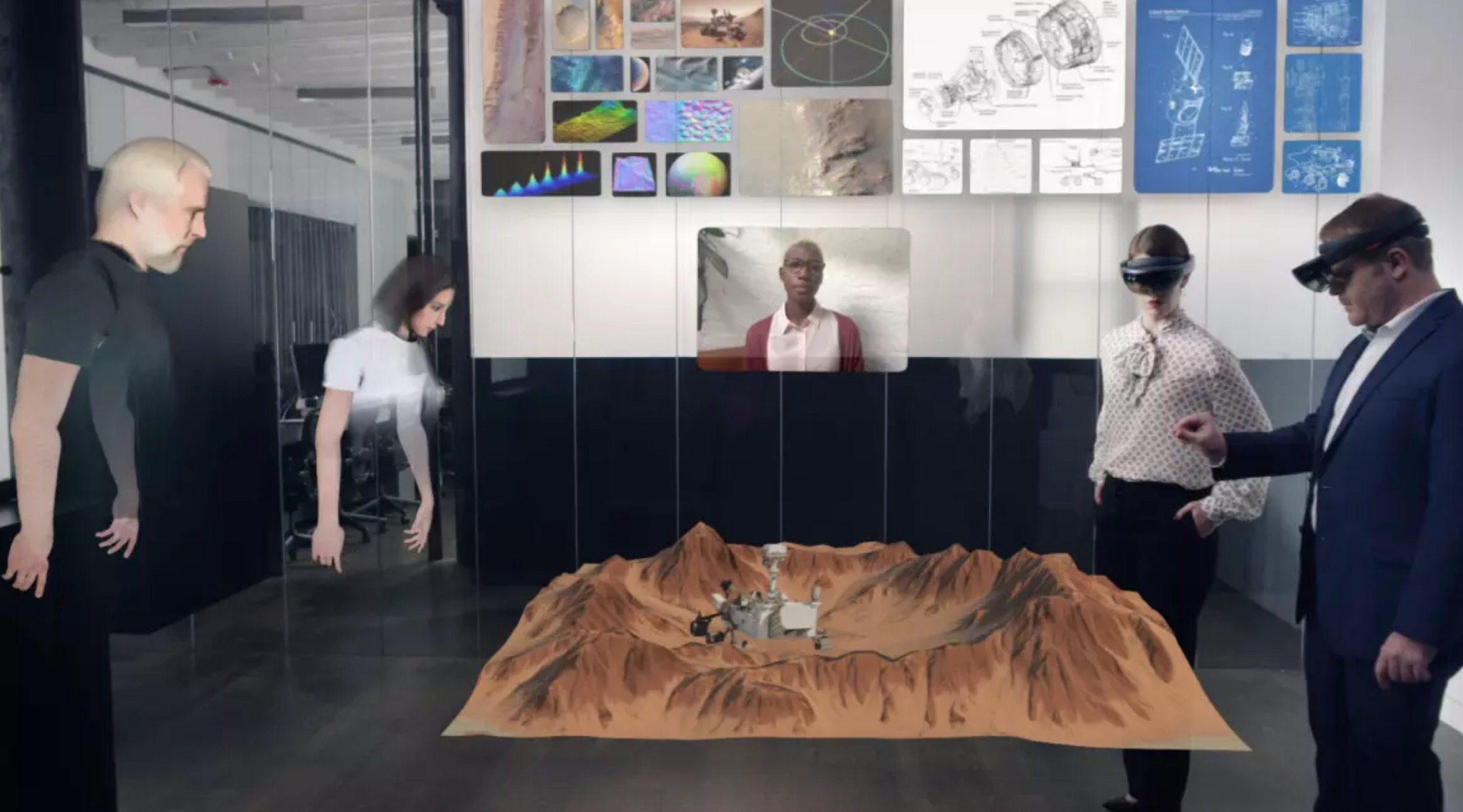 Augmented reality avatars looking at AR image