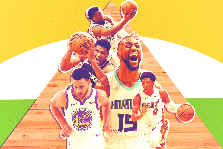 Steph Curry, Giannis Antetokounmpo, Donovan Mitchell, Josh Richardson, and Kemba Walker