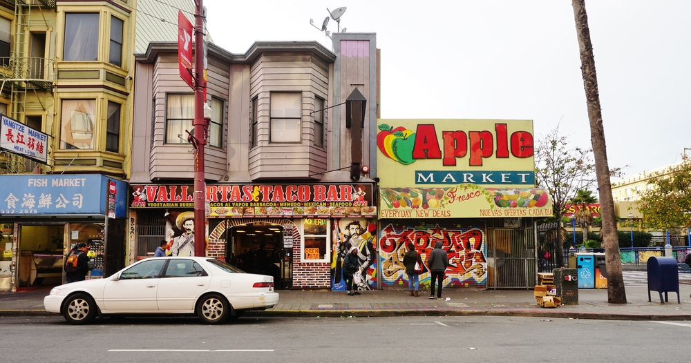 A block of Mission Street in San Francisco.