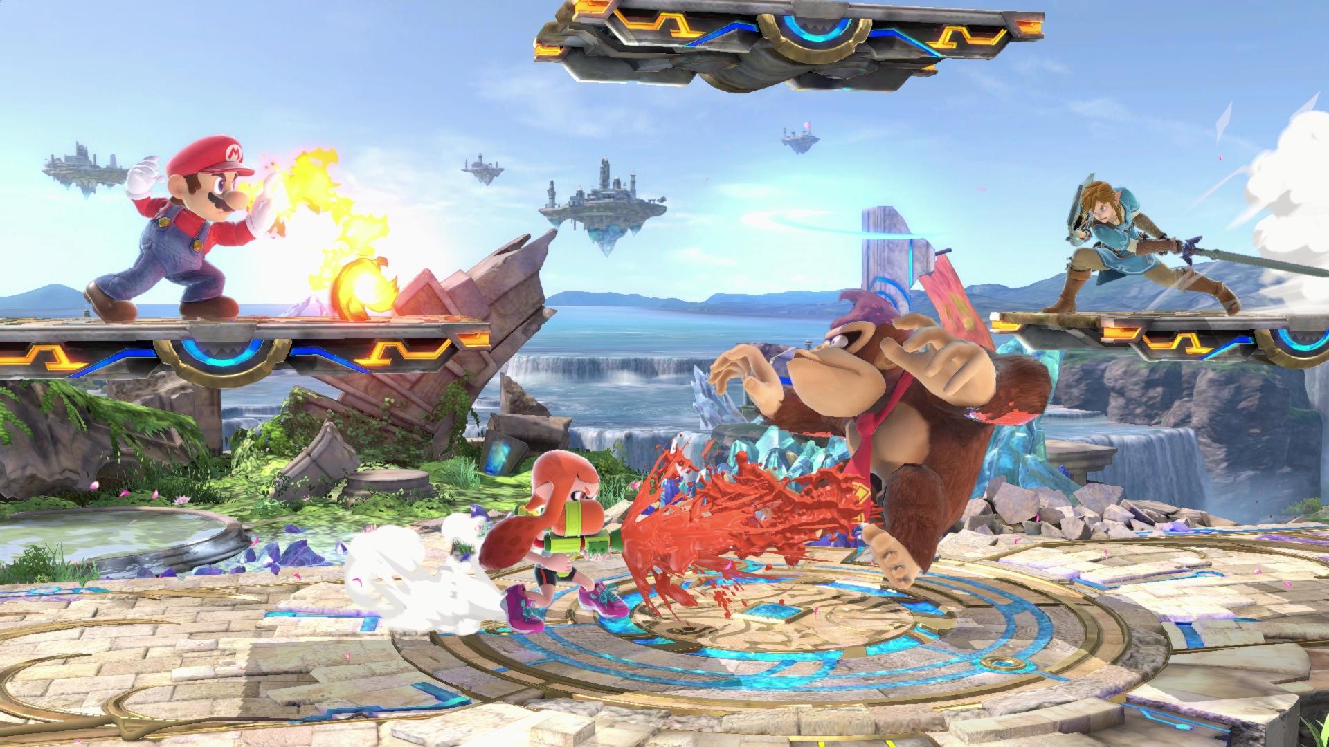 Super Smash Bros. Ultimate - match between Mario, Inkling Girl, Donkey Kong and Link