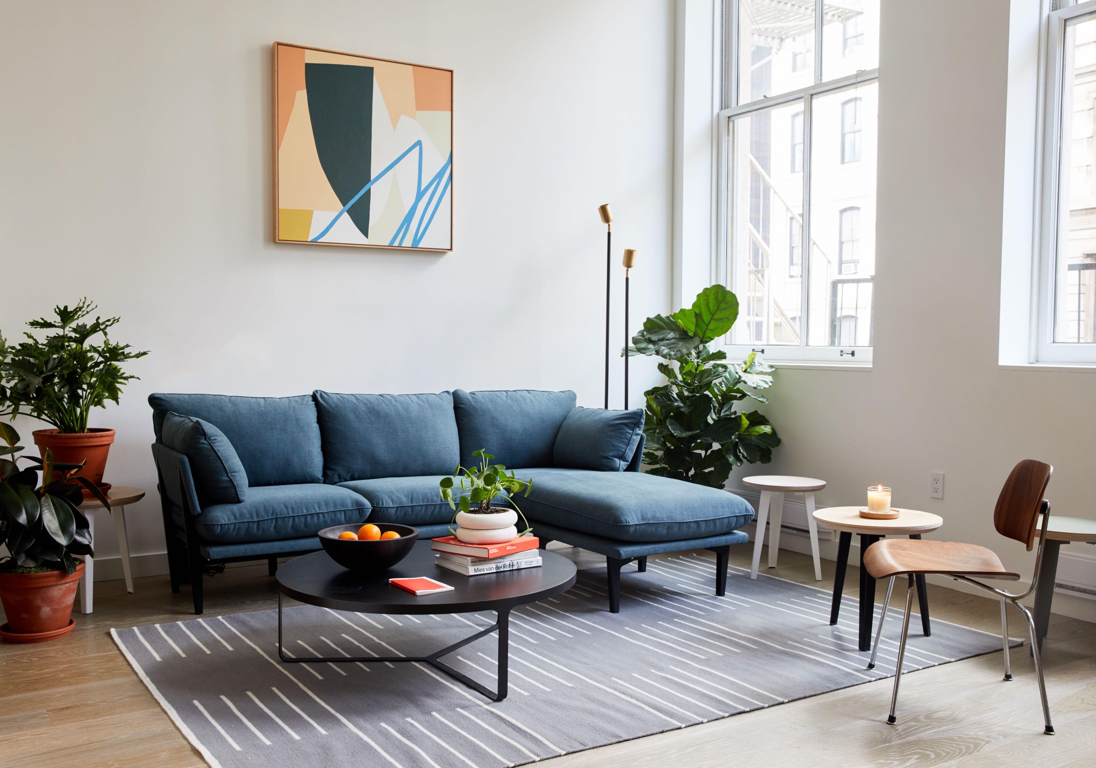 Blue sofa in showroom