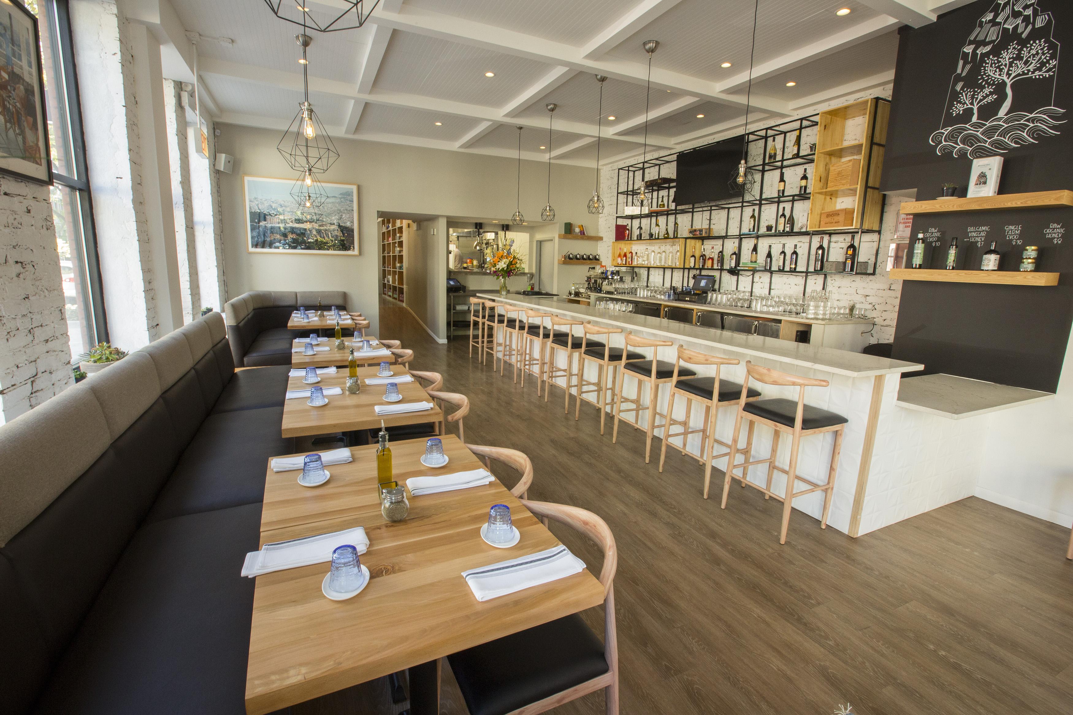 A well-lit Greek bar.