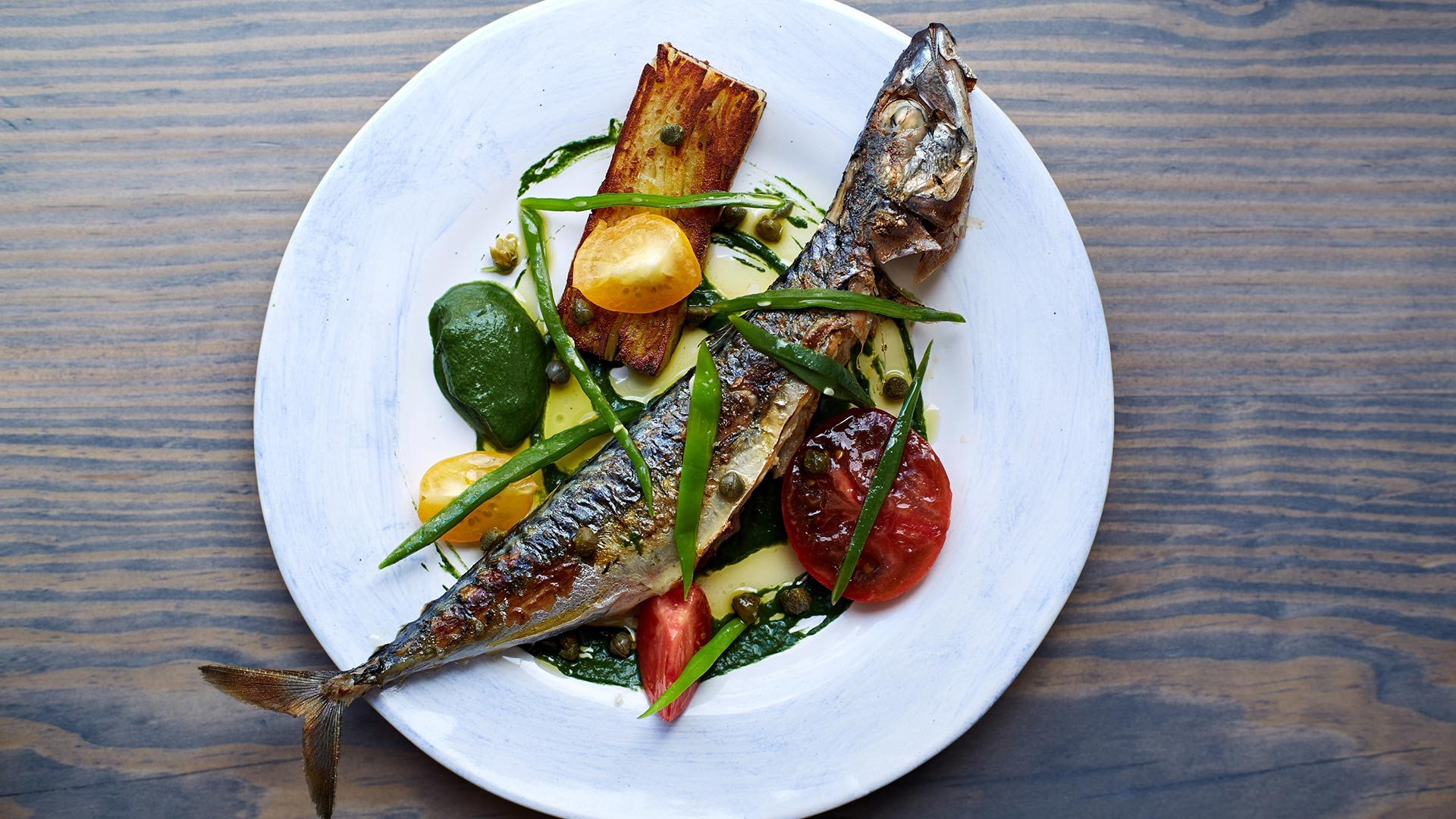 Whole mackerel with tomatoes at Marcella, one of Deptford's best restaurants