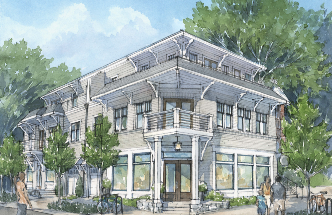 A revised project sketch for the corner of McLendon and Brooks avenues in commercial Candler Park.