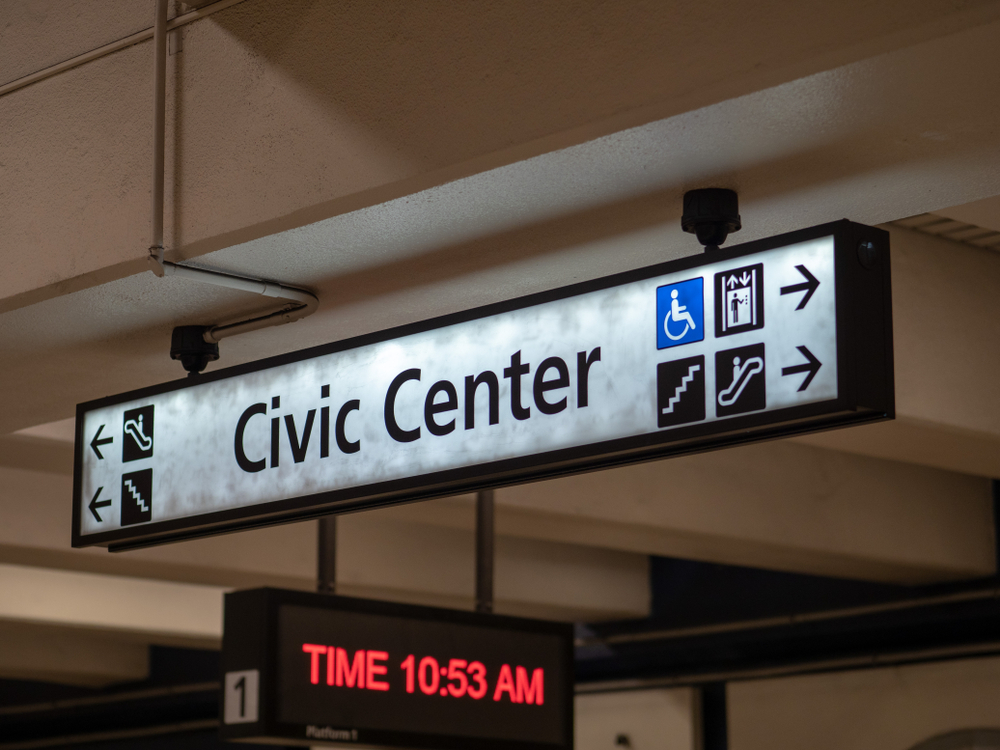 A sign at Civic Center Station.