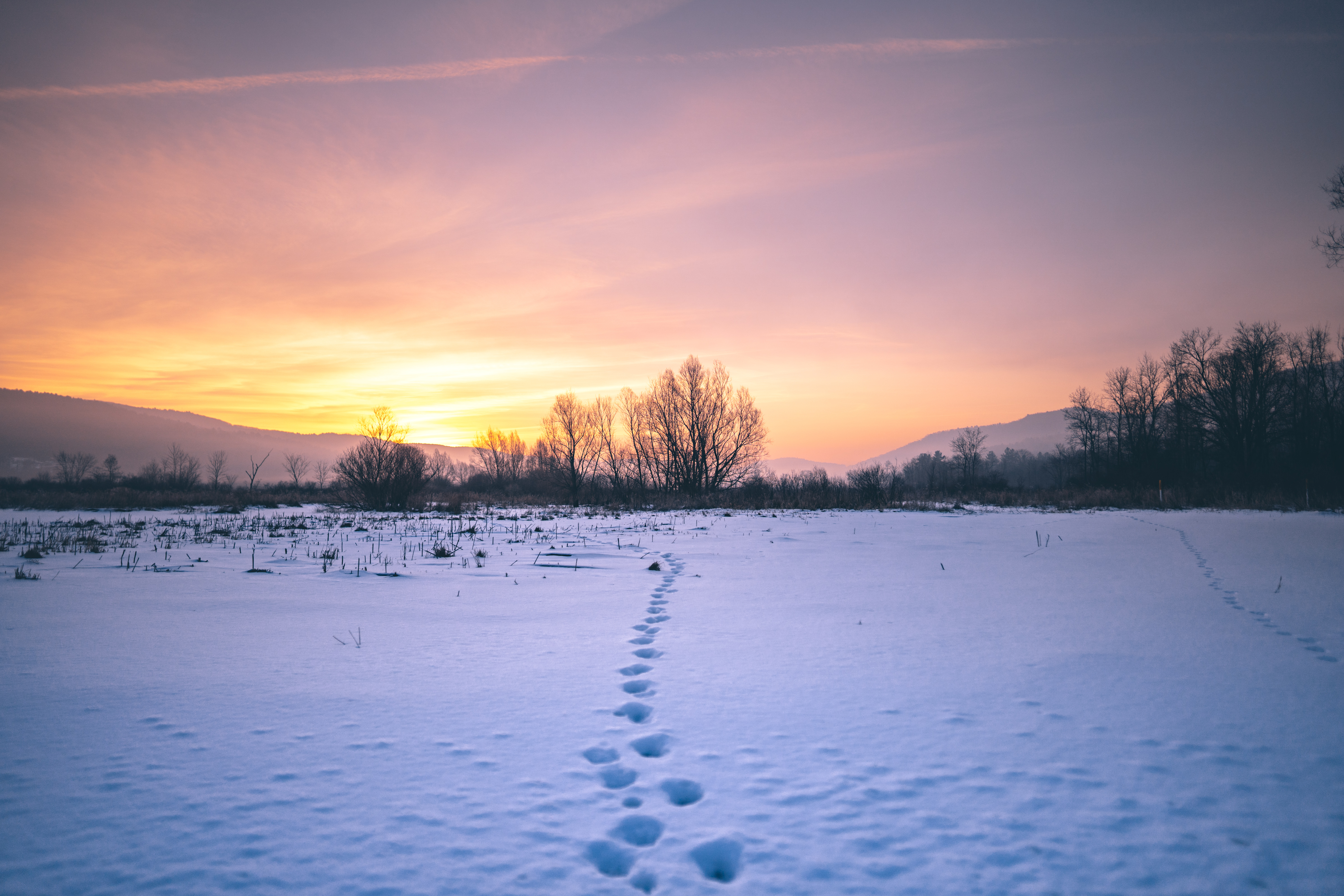 An expansive winer landscape, with a snow-covered field leading toward mountains, and there are foot tracks in the snow.