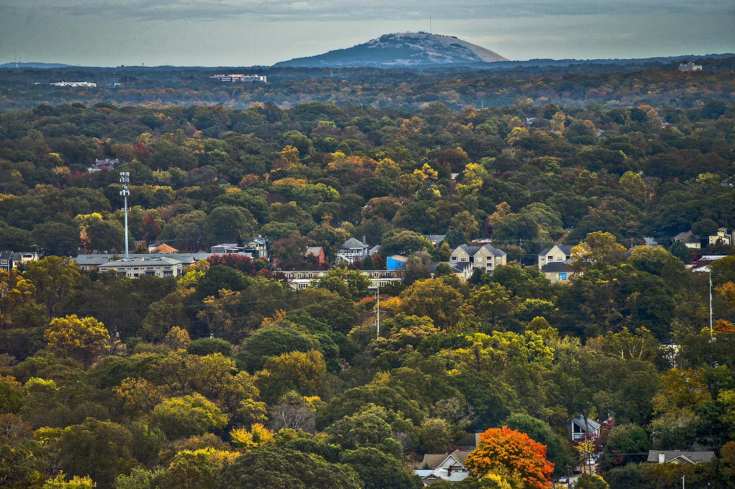 Leaves are changing throughout intown Atlanta, with Stone Mountain off to the east.