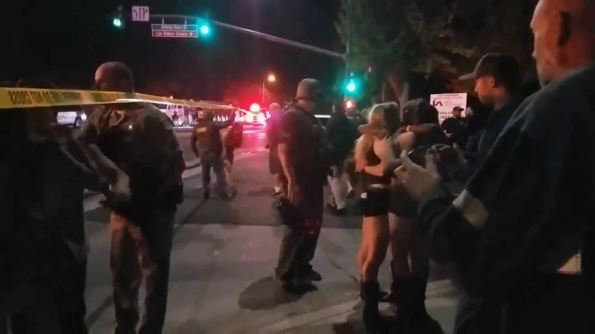 Scene outside Borderline Bar & Grill after mass shooting on November 7, 2018, Thousand Oaks, California