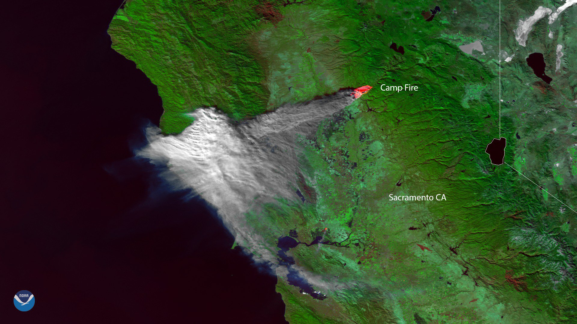 Satellite image shows Camp Fire smoke covering Bay Area