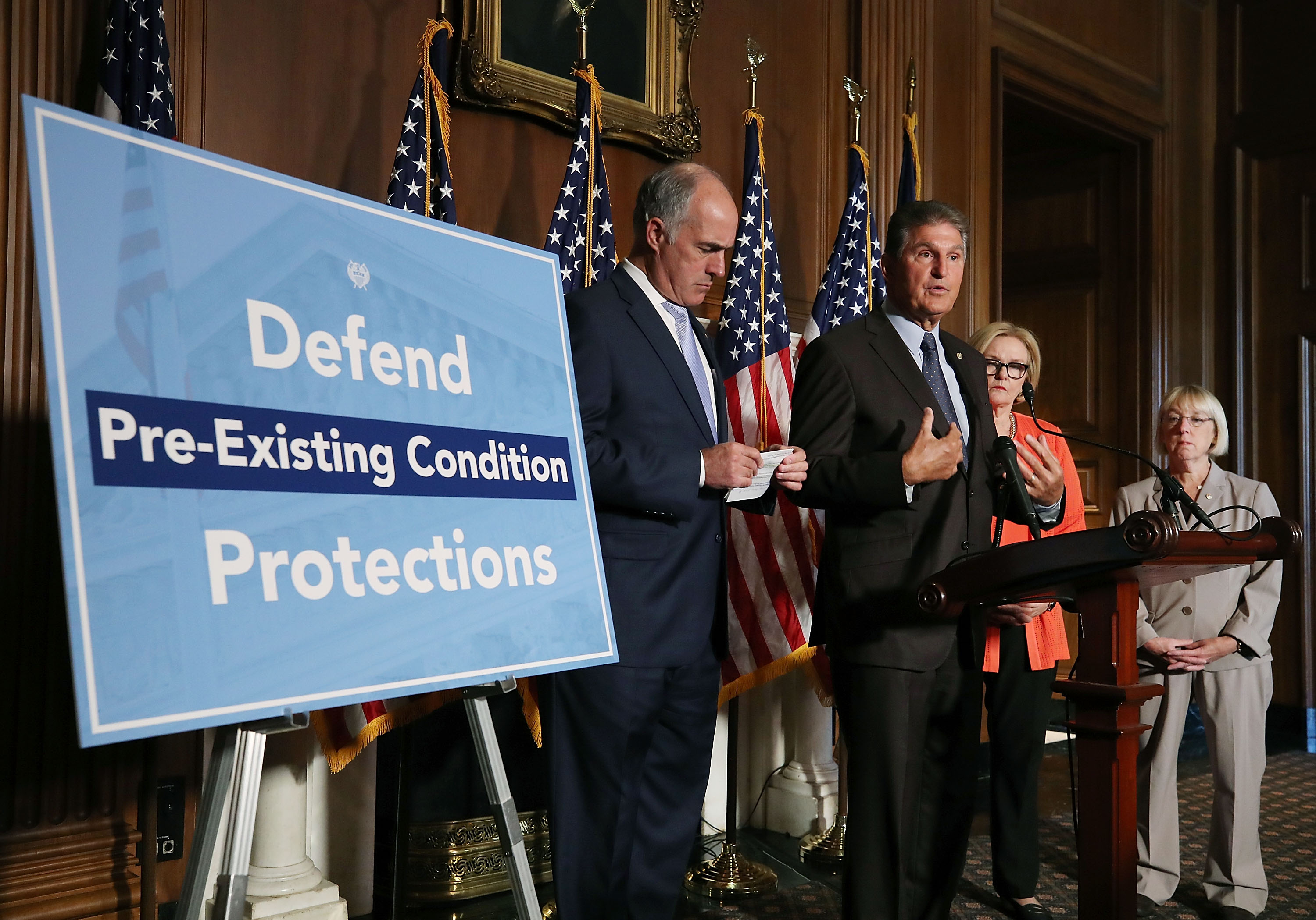 Senate Democratic Leader Chuck Schumer Holds News Conference To Discuss Proposal To Protect Those With Pre-Existing Conditions