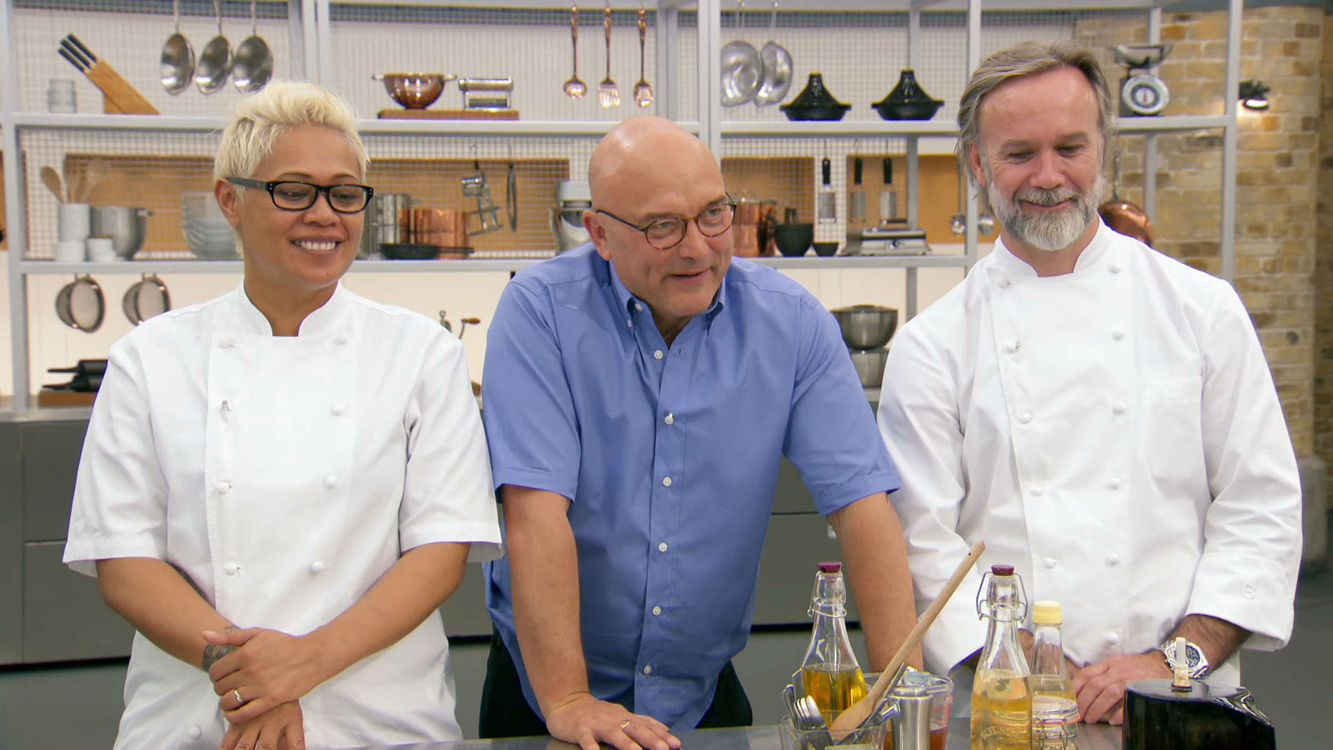 Masterchef: The Professionals 2018 judges Marcus Wareing, Monica Galetti, and Gregg Wallace on the BBC Two television series