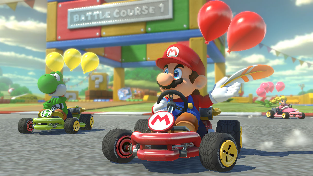Mario and Yoshi race in a screenshot from Mario Kart 8 Deluxe