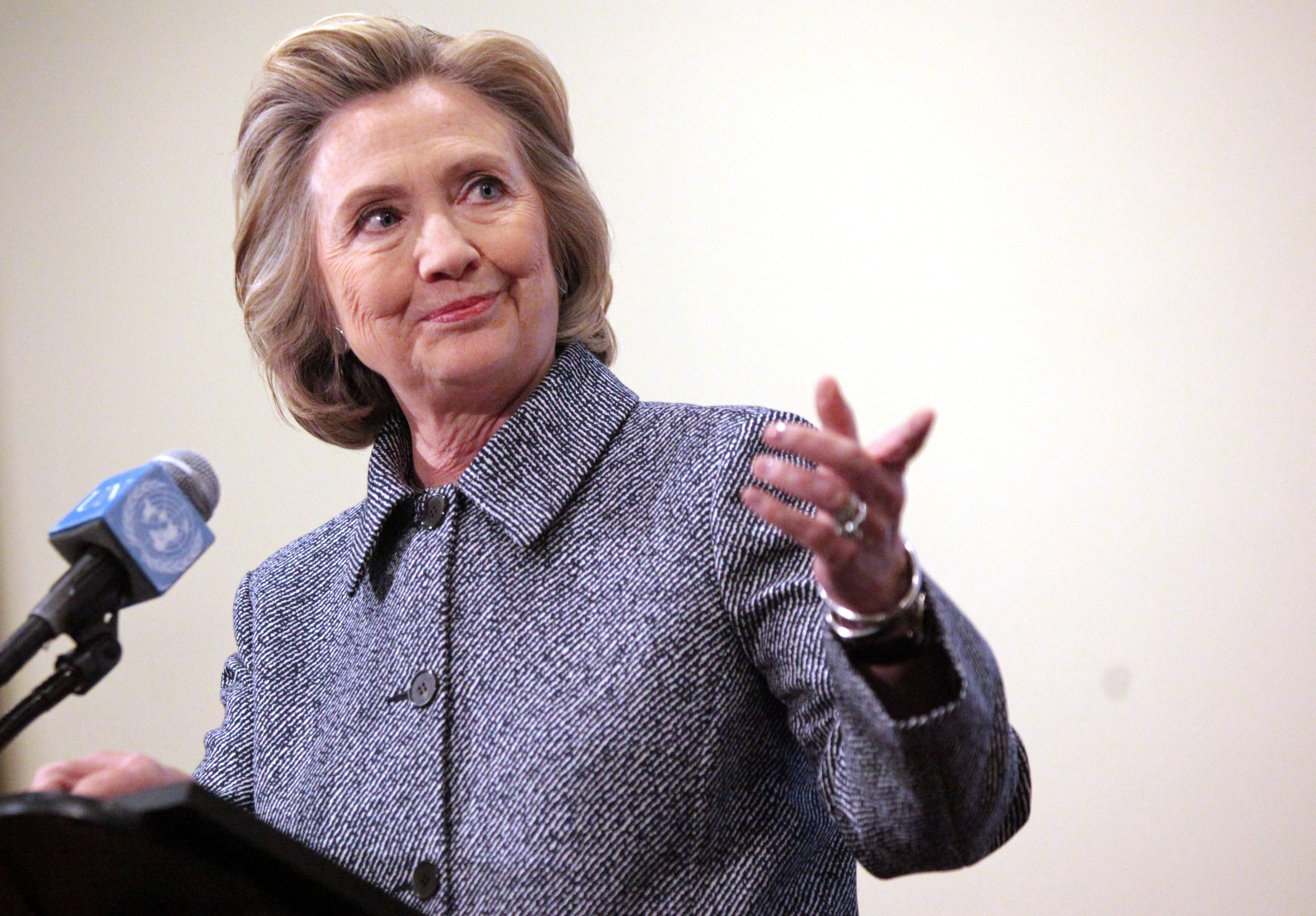 Former Secretary of State Hillary Clinton speaks to the media after keynoting a Women's Empowerment Event at the United Nations on March 10, 2015 in New York City. Clinton answered questions about recent allegations of an improperly used