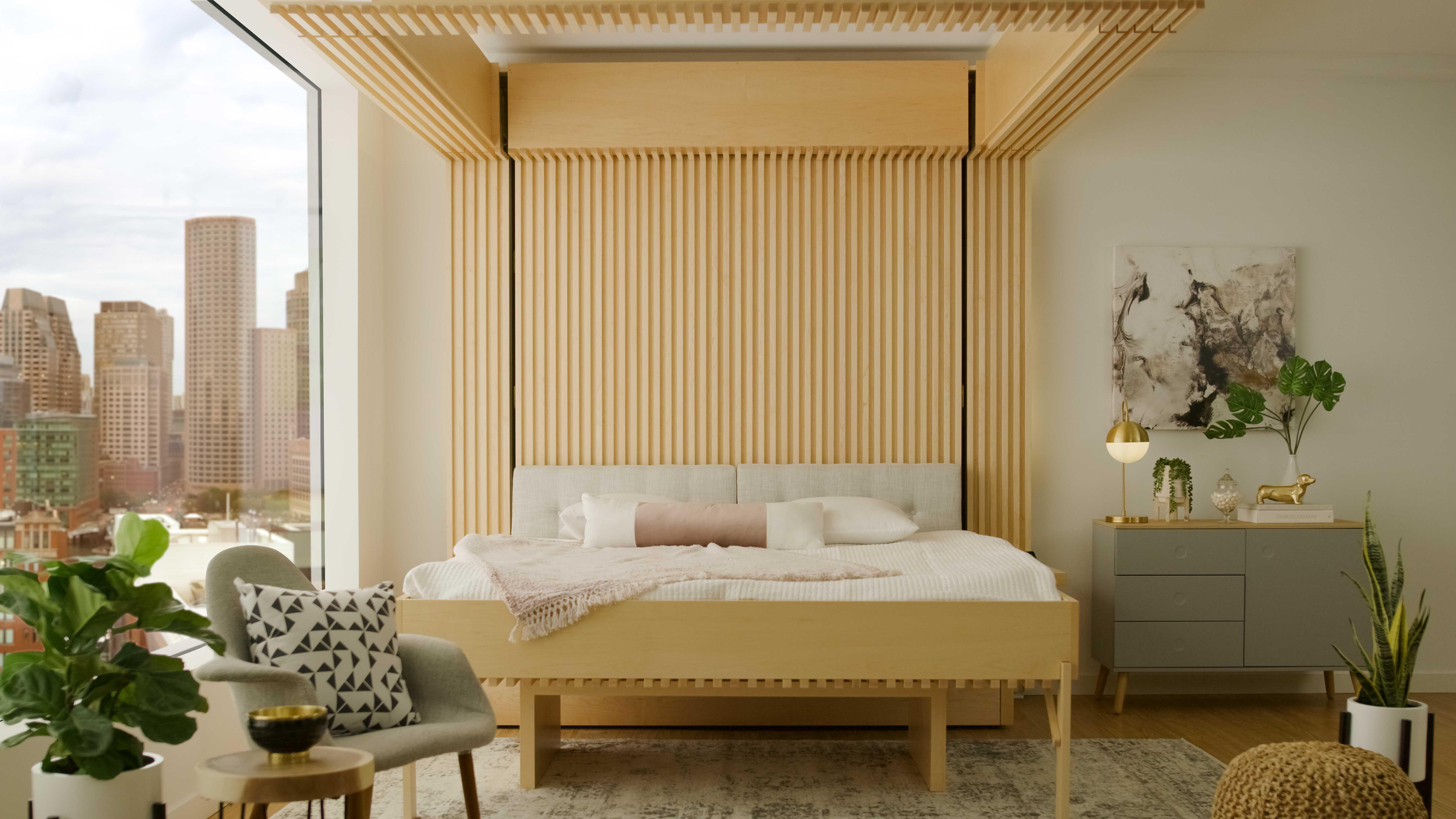 Bed in studio apartment