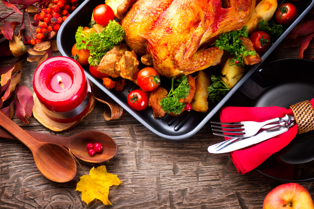 Stock photograph of a Thanksgiving-themed turkey dinner