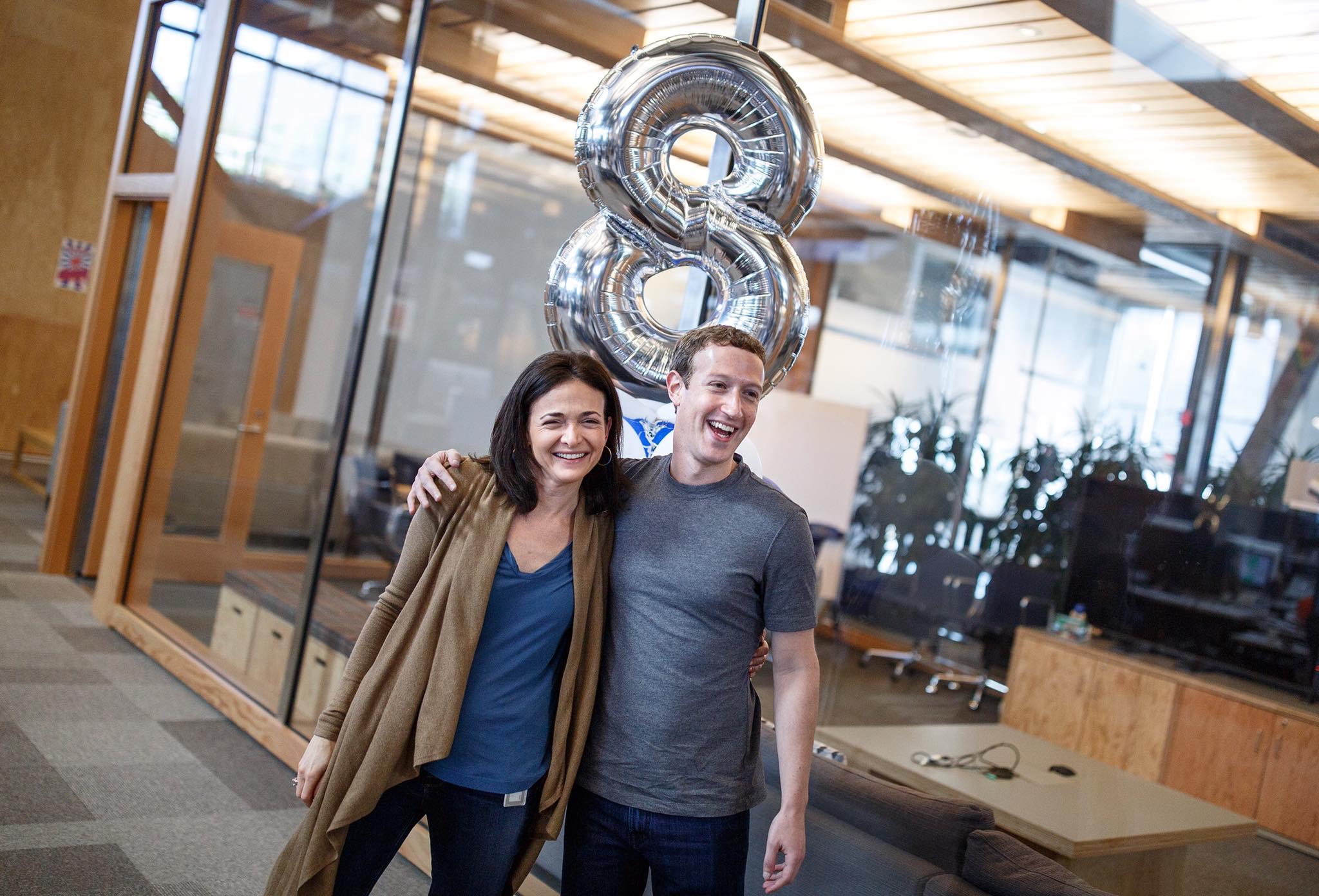 Facebook COO Sheryl Sandberg celebrates her eight-year anniversary with CEO Mark Zuckerberg.