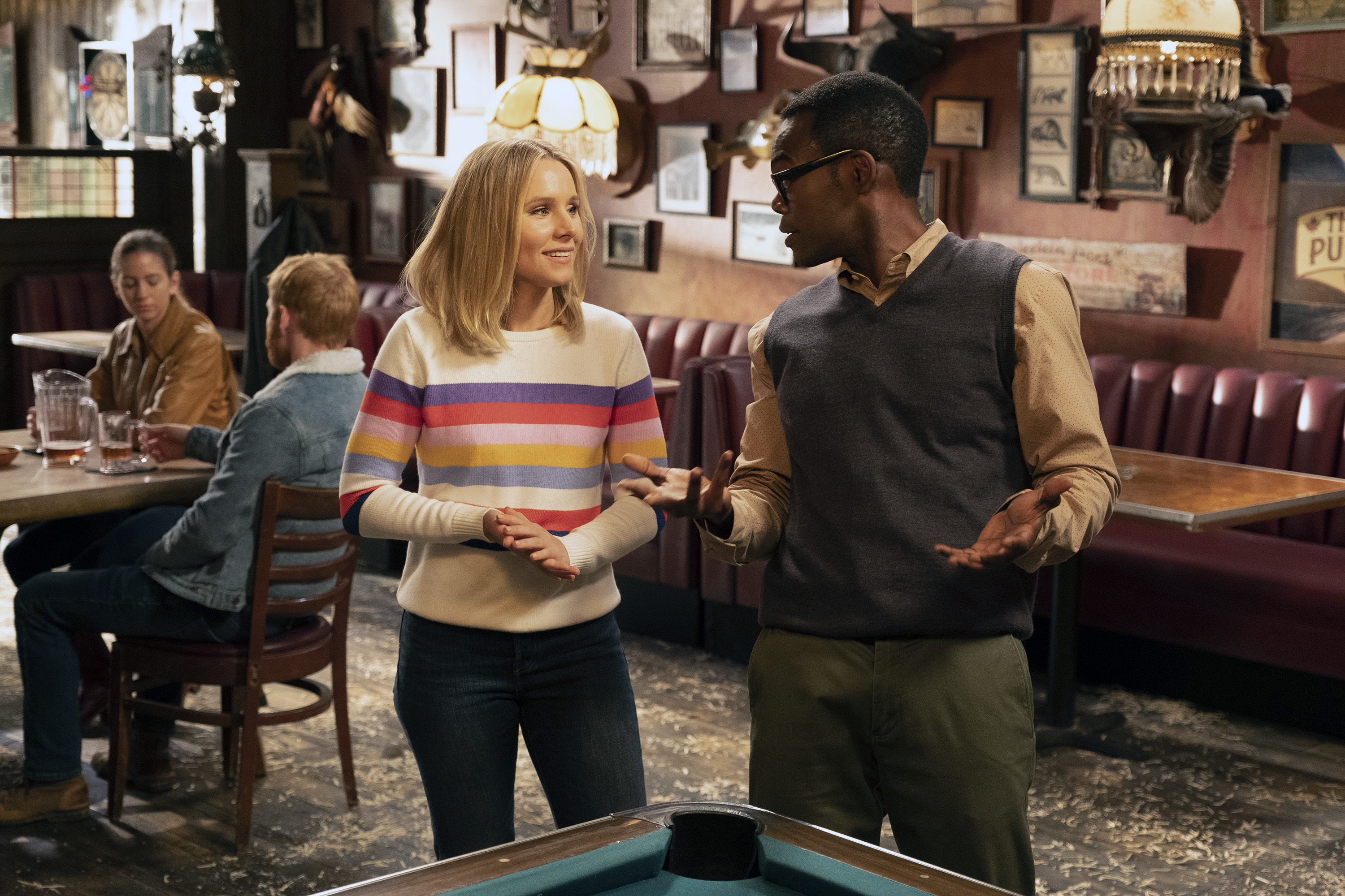Eleanor and Chidi on The Good Place