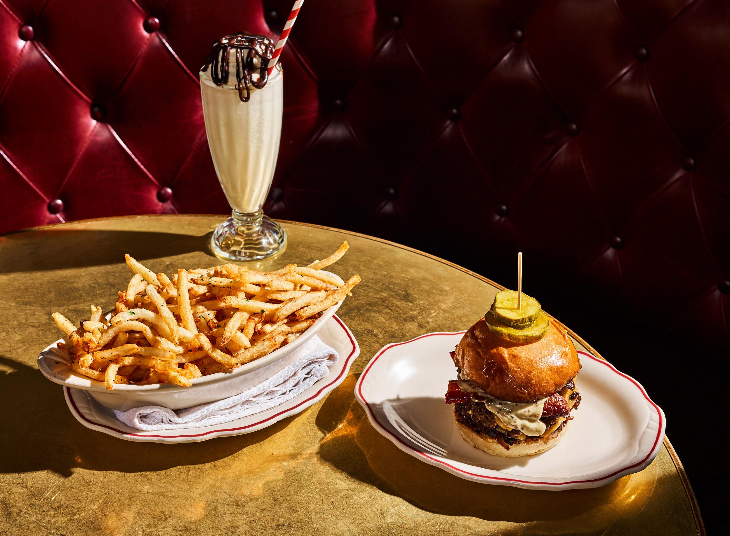 The Marcel burger, fries, and boozy milkshake