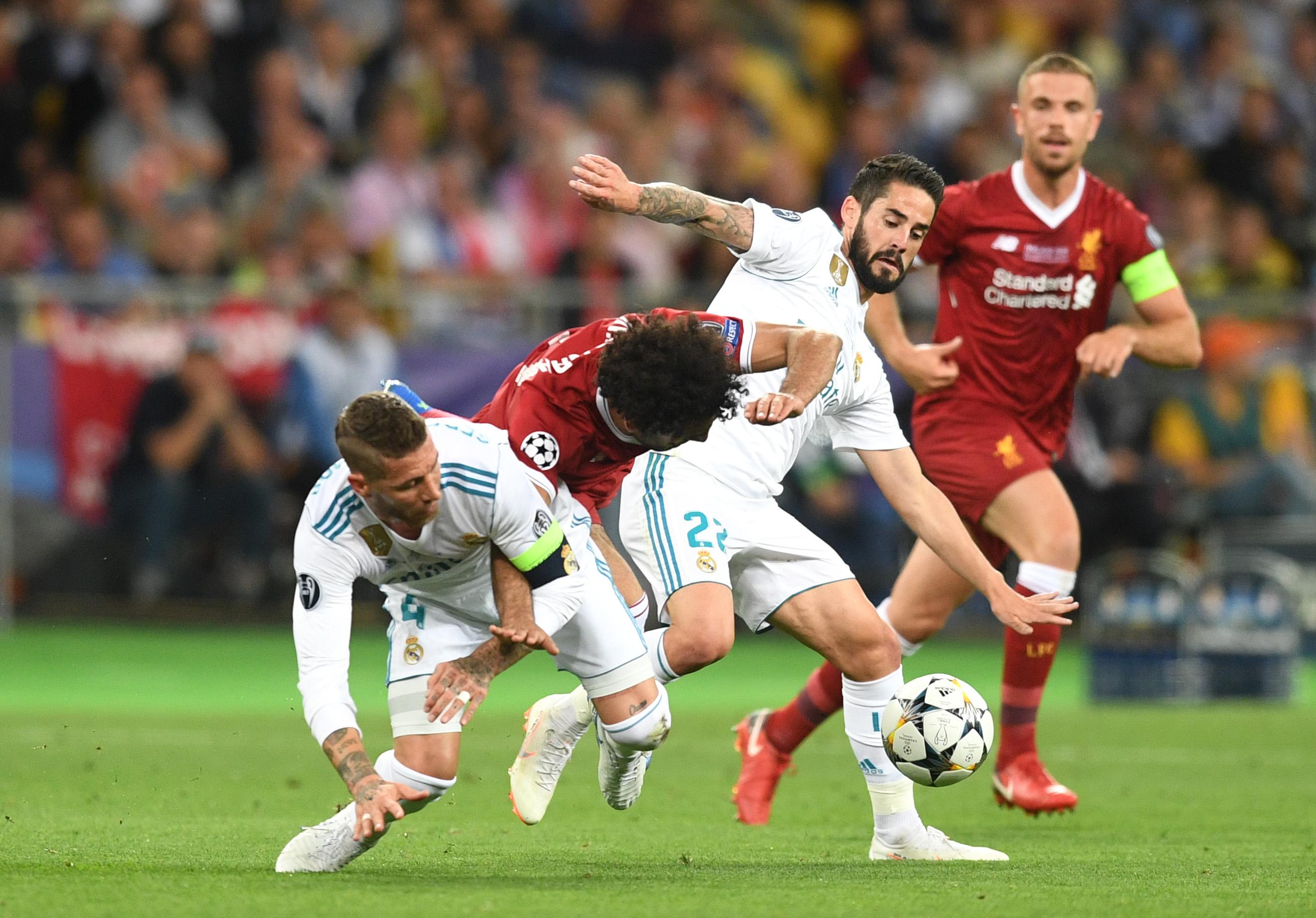 Sergio Ramos pins Mohamed Salah's arm in a take-down tackle, dislocating Salah's shoulder- Real Madrid v Liverpool - UEFA Champions League Final 2018