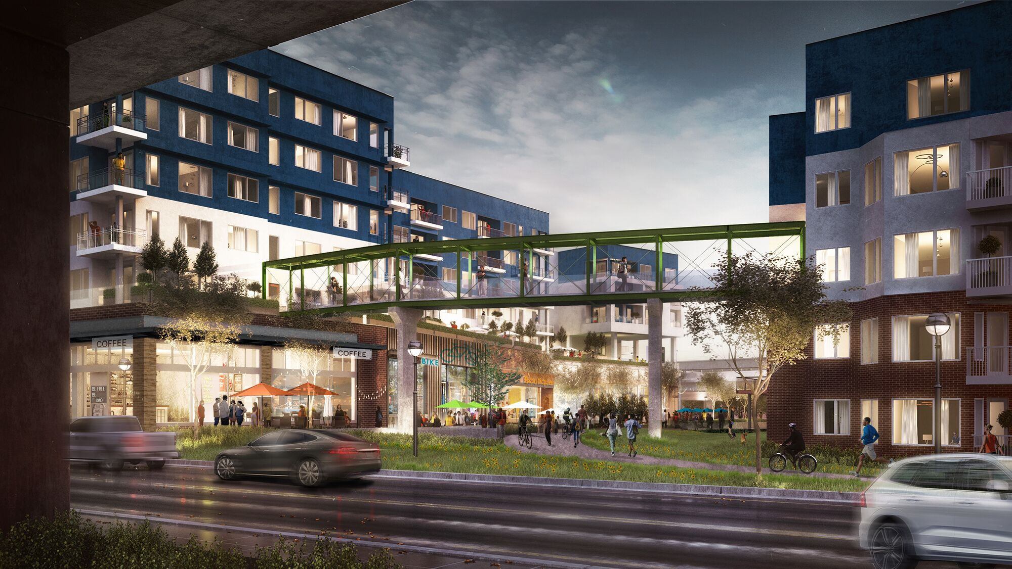 a rendering of the dekalb avenue side of the complex