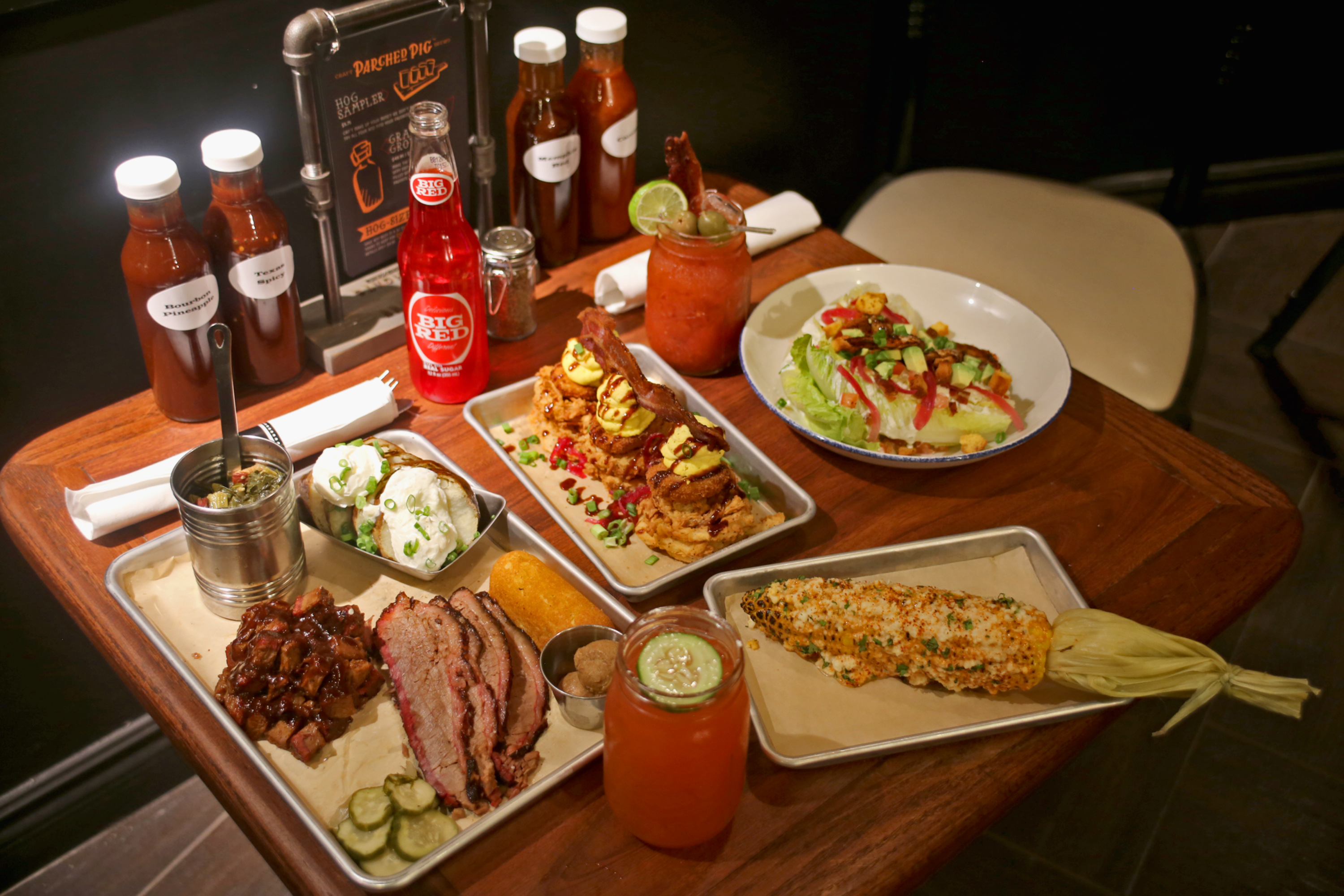 Brisket, elote corn, bacon and eggs, and the barbecue salad at Beaumont's Southern Kitchen
