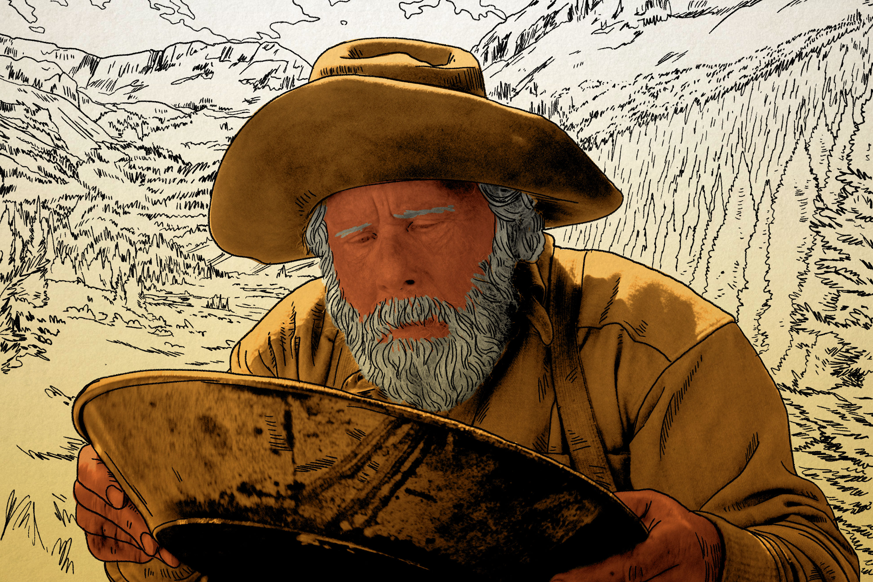 Tom Waits wearing a brown hat and looking down into a gold pan in 'The Ballad of Buster Scruggs'