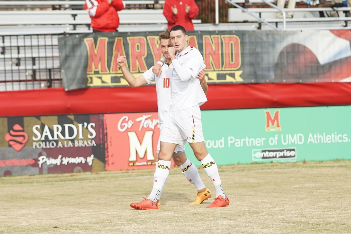 Midfielder Amar Sejdic celebrates with midfielder William James Herve
