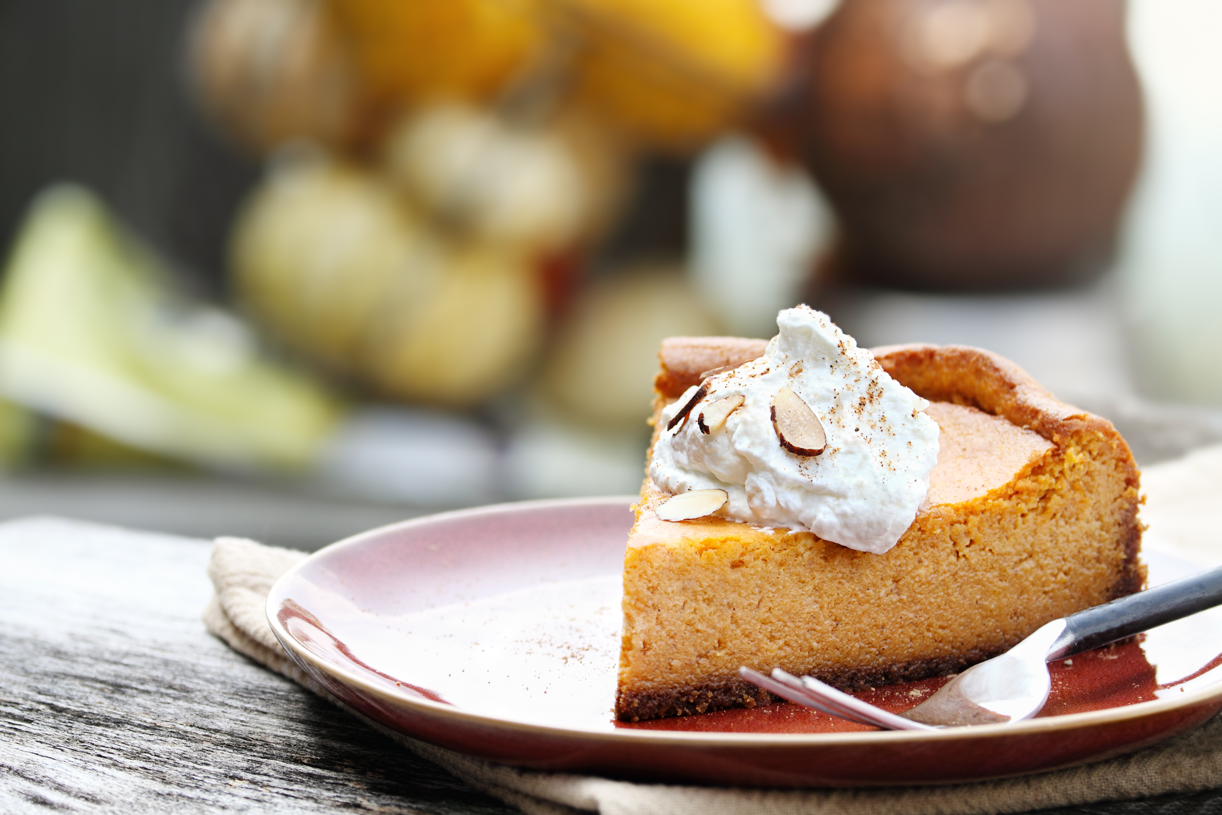 A slice of Pumpkin Cheesecake Pie with homemade whipped cream, almonds and pumpkin spice. Extreme shallow depth of field.