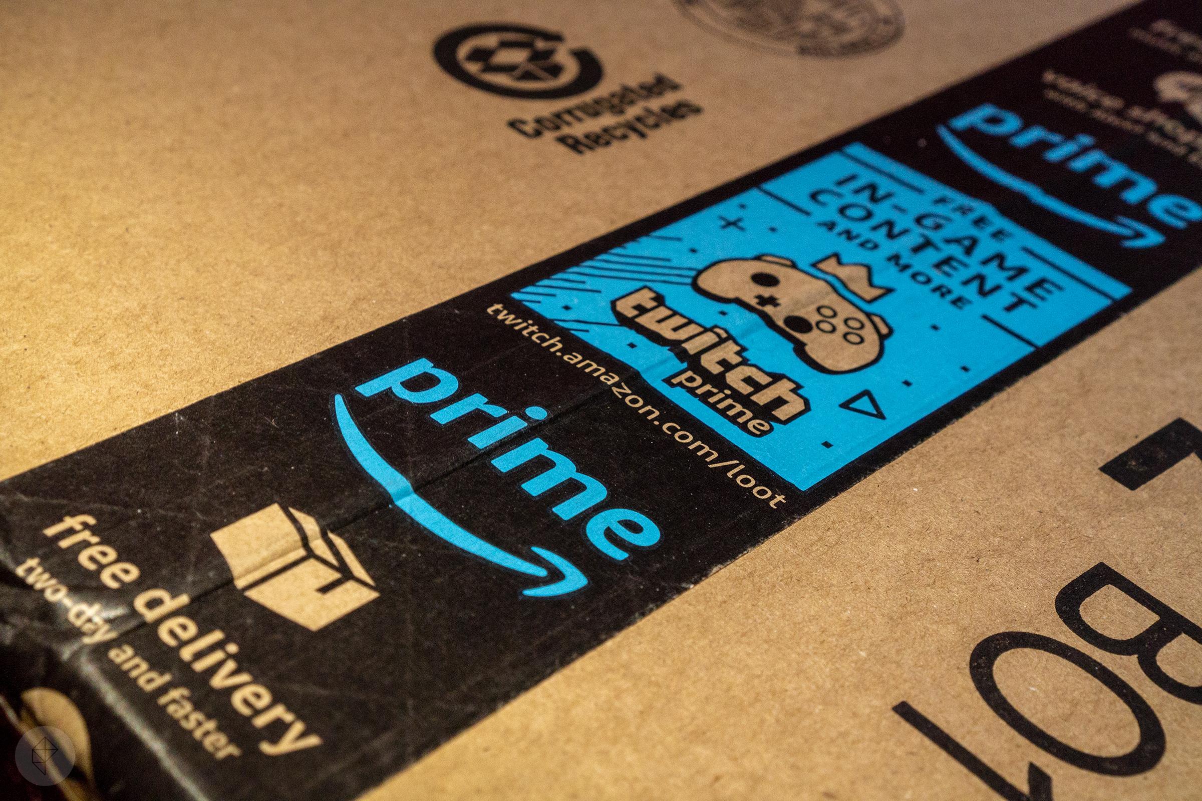 Amazon Prime tape on box stock photo