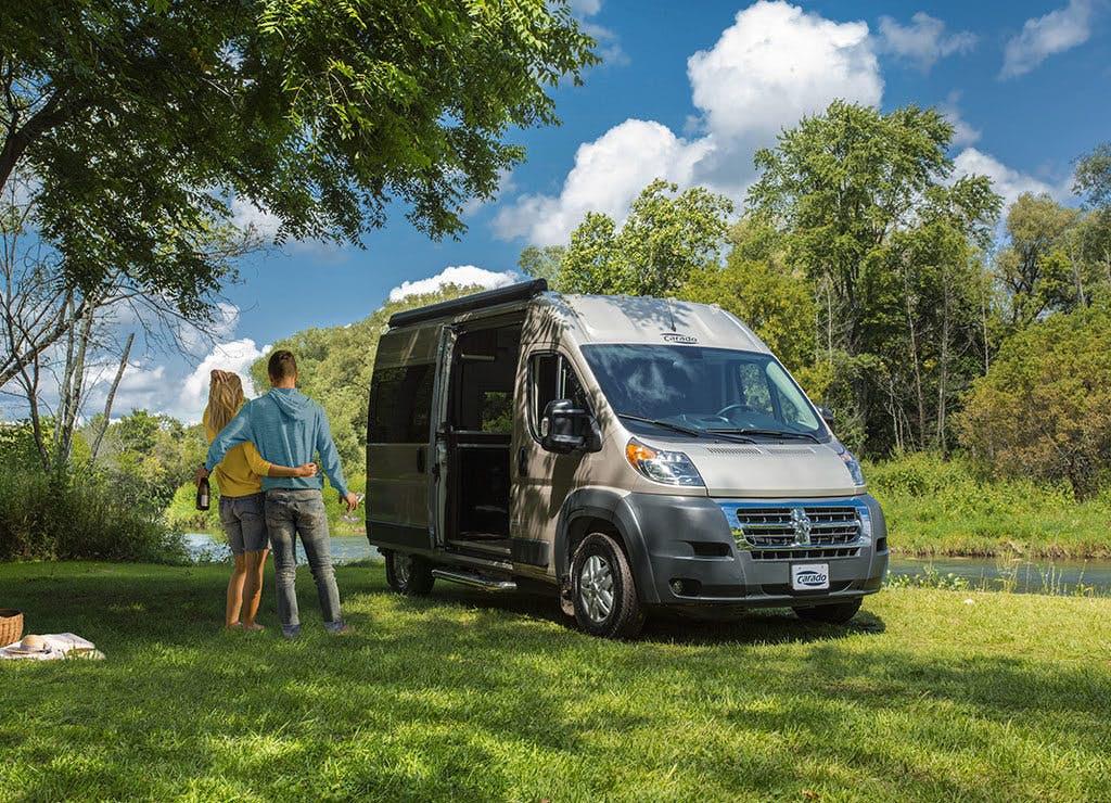 Compact camper van fits a bathroom, sleeps two