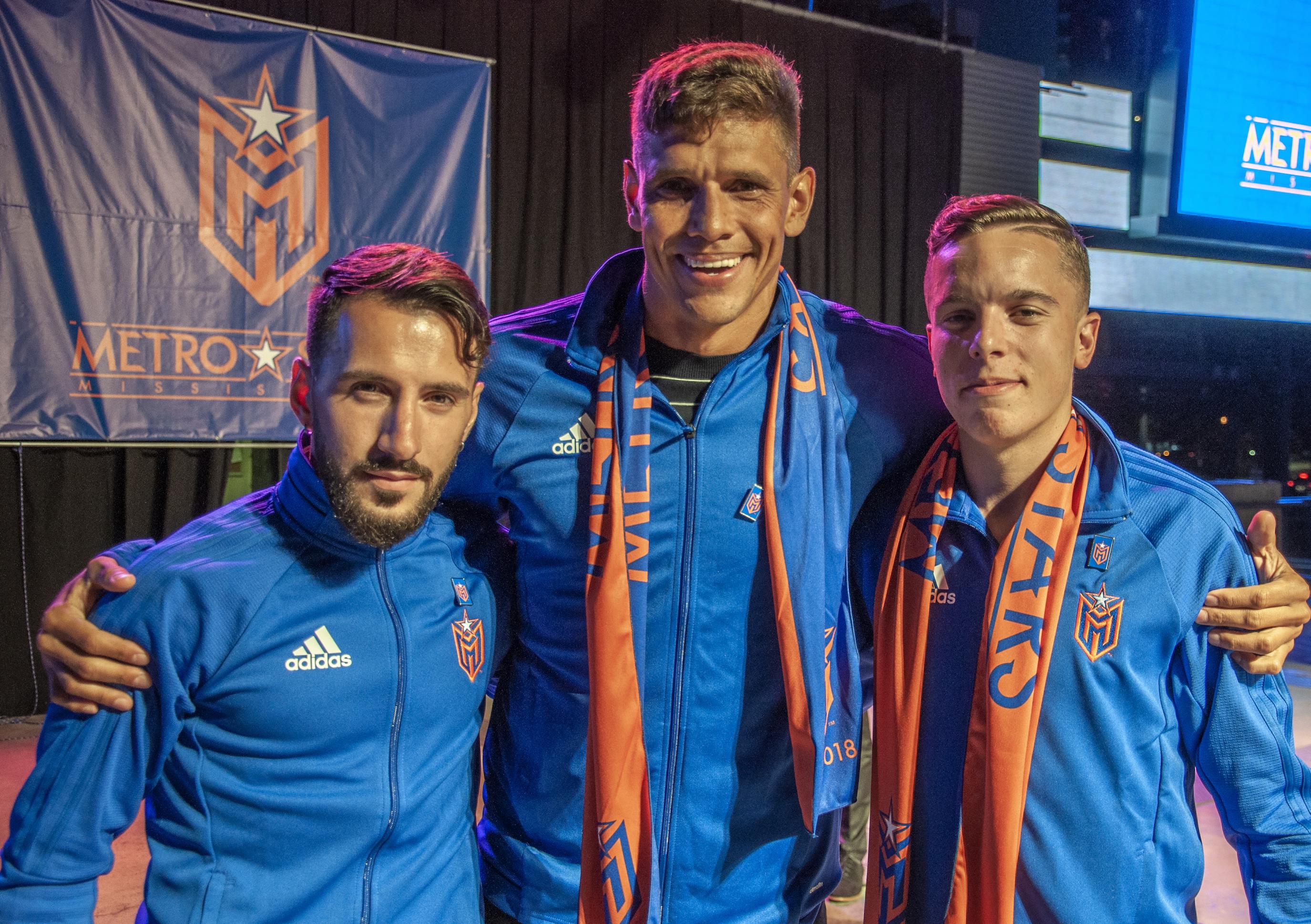 Mississauga MetroStars trio: Martinho Dumevski, Adrian Cann, and Luis Rocha