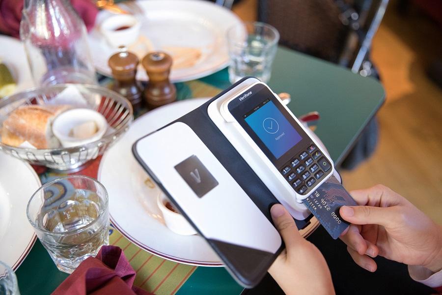 A credit card reader at a restaurant