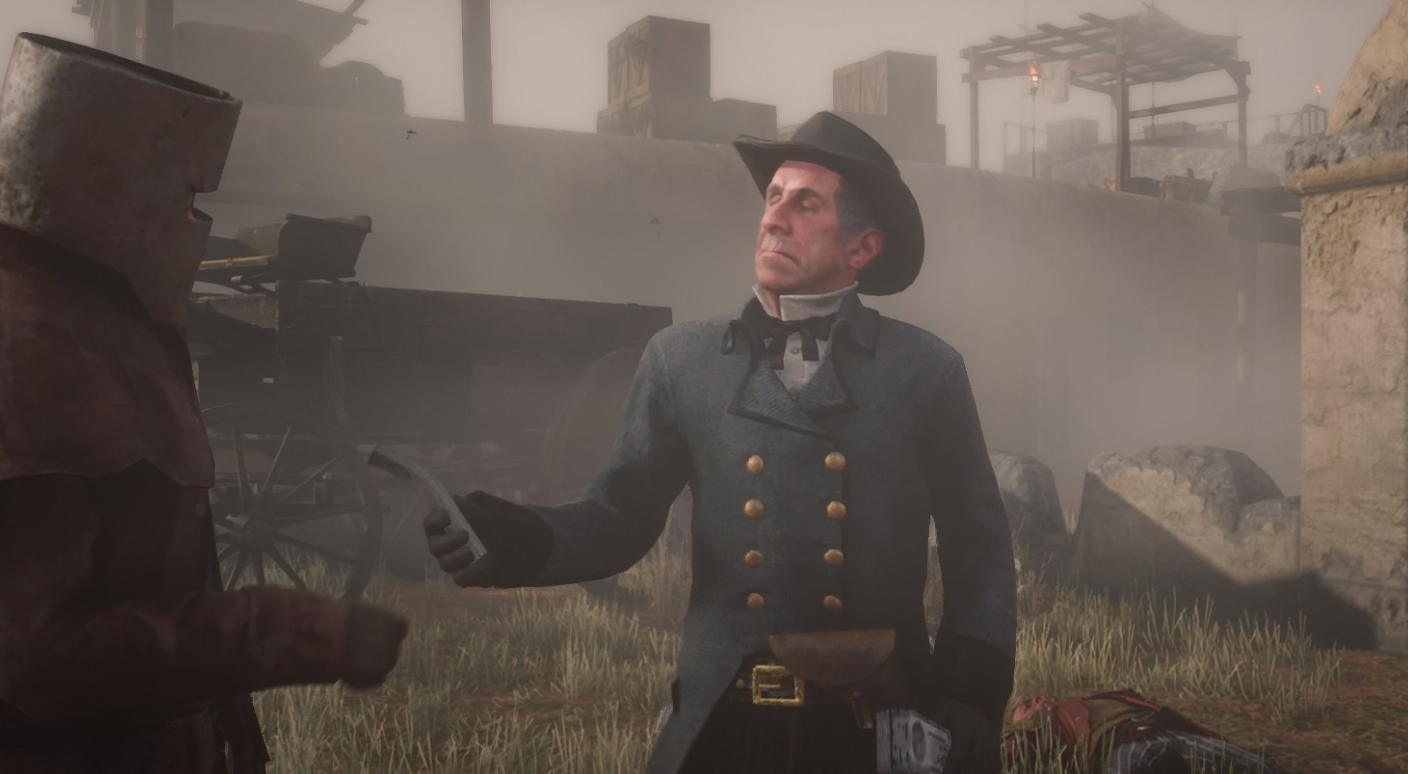 Red Dead Online - Horley handing money to the player