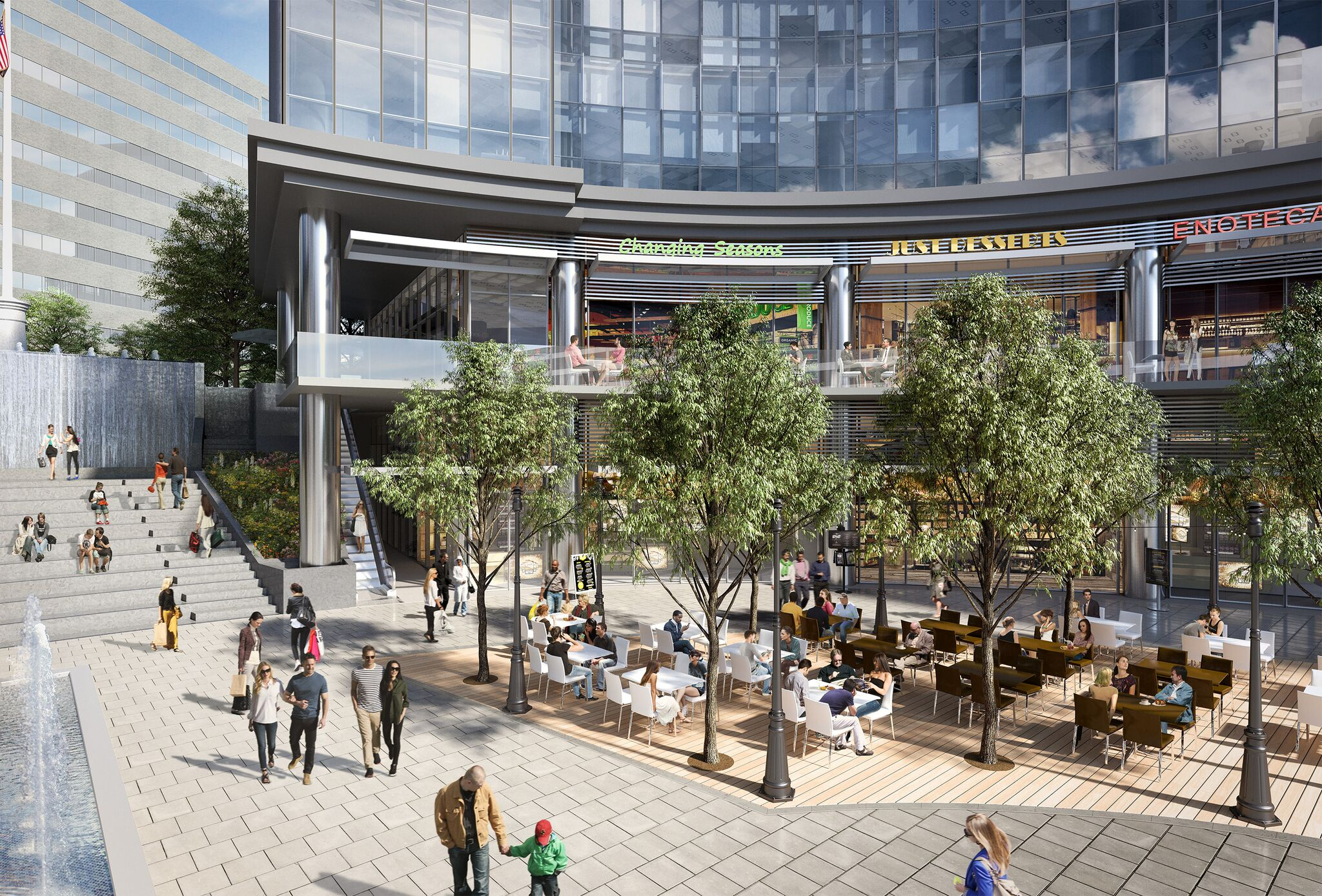 a rendering of the proposed mixed-use community retail space