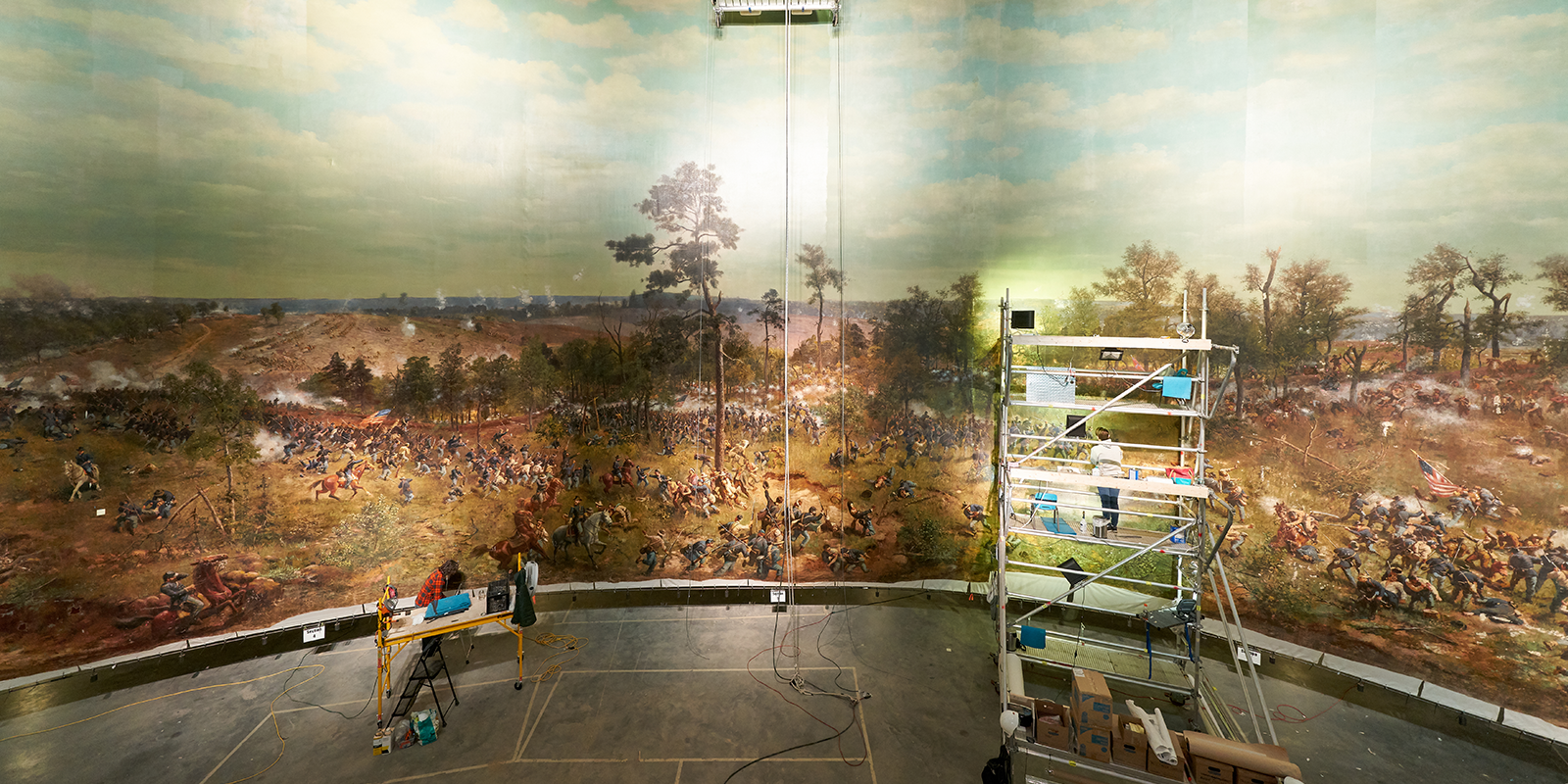 a picture of the cyclorama being installed