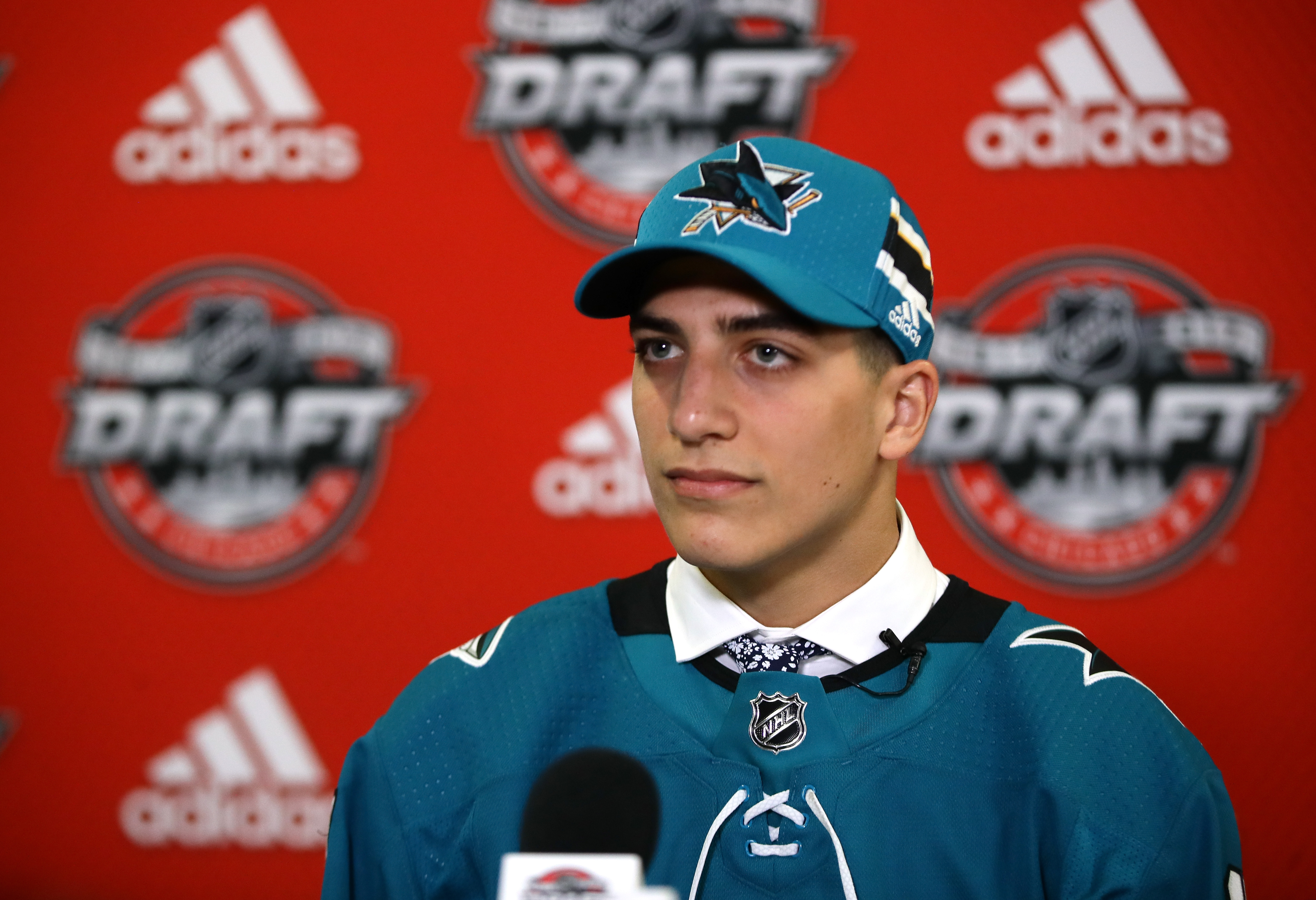 CHICAGO, IL - JUNE 24: Mario Ferraro is interviewed after being selected 49th overall by the San Jose Sharks during the 2017 NHL Draft at the United Center on June 24, 2017 in Chicago, Illinois.