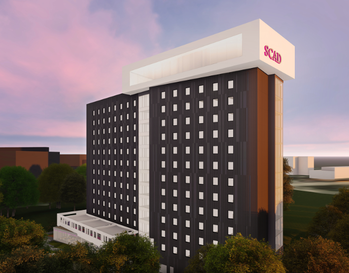 Rendering of 14-story residence hall.