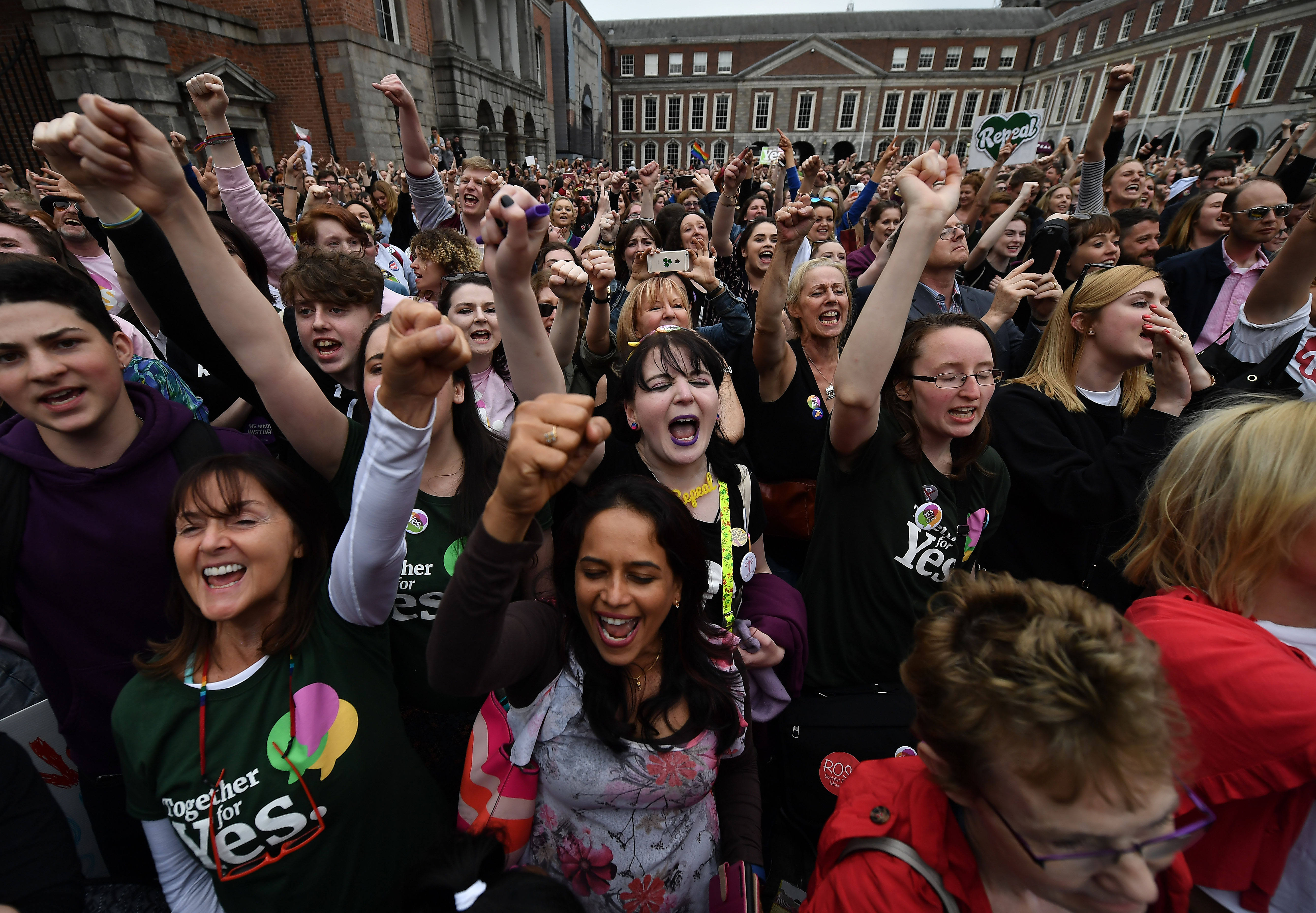 Yes voters celebrate as the result of the Irish referendum on the 8th amendment concerning the country's abortion laws is declared at Dublin Castle on May 26, 2018 in Dublin, Ireland.