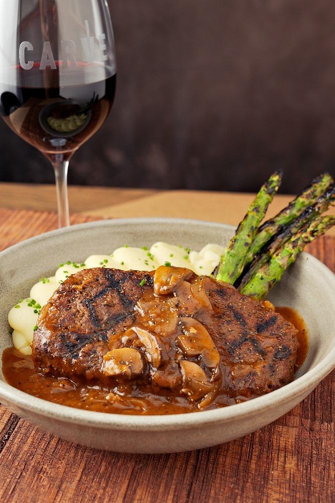 The vegan Salisbury steak at Carve