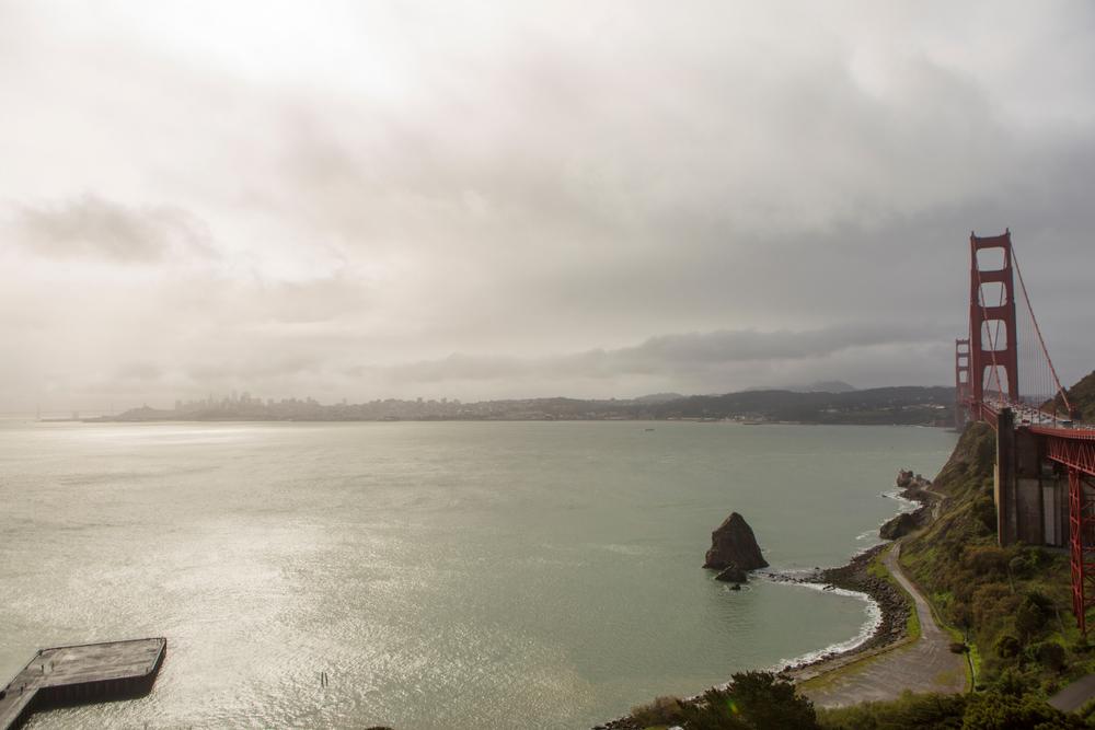 Dark clouds over the Golden Gate Bridge