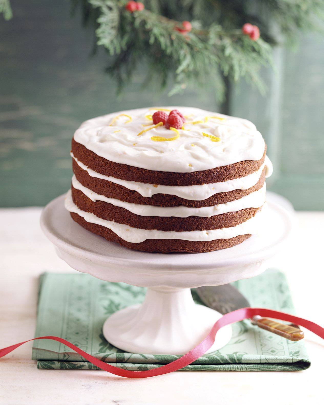 A four layer vanilla frosted Christmas cake at St. Regis in Atlanta