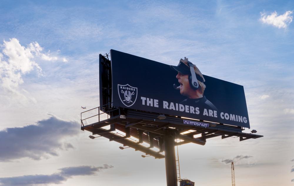 A Vegas billboard advertising the Raiders.