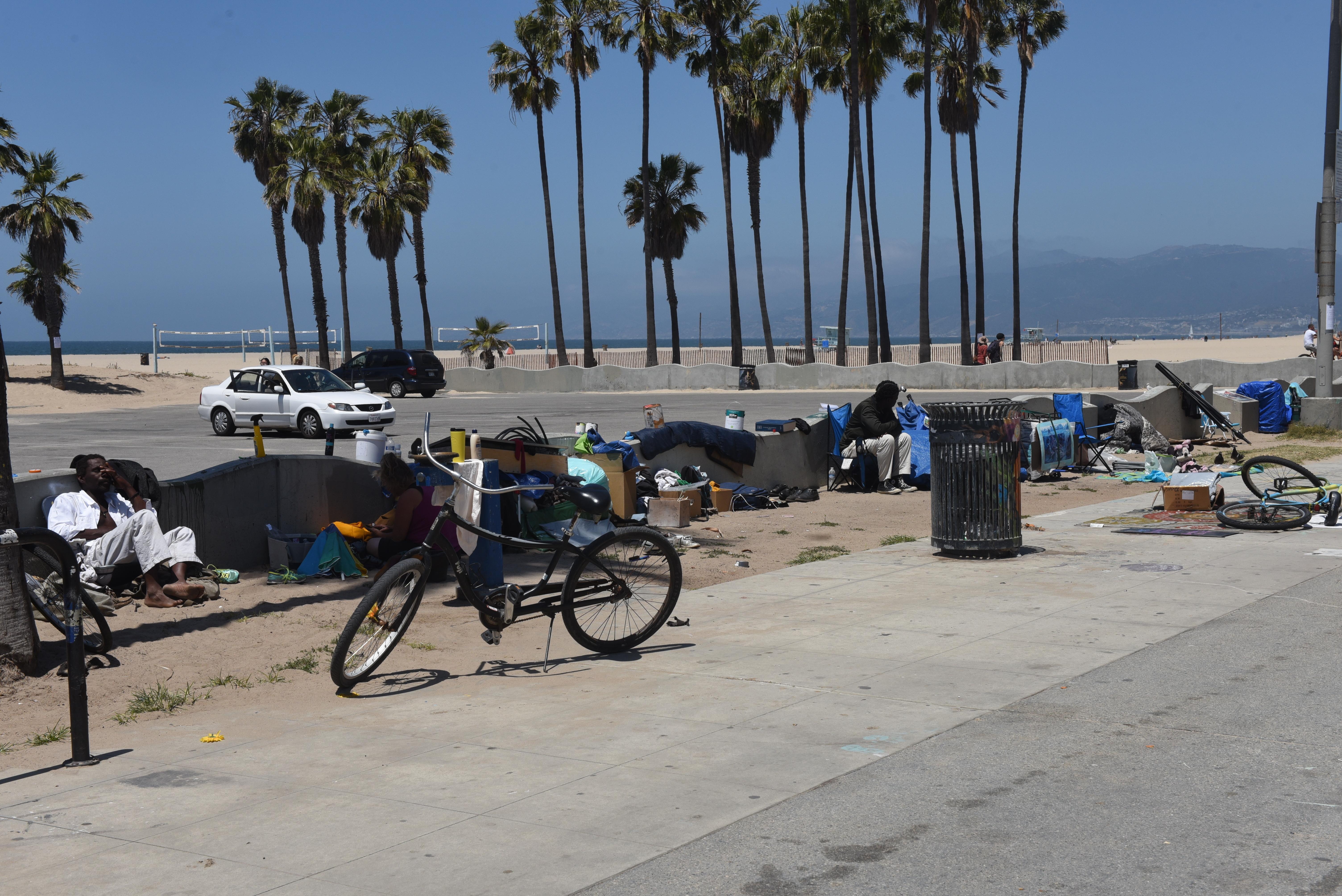 Homeless residents in Venice